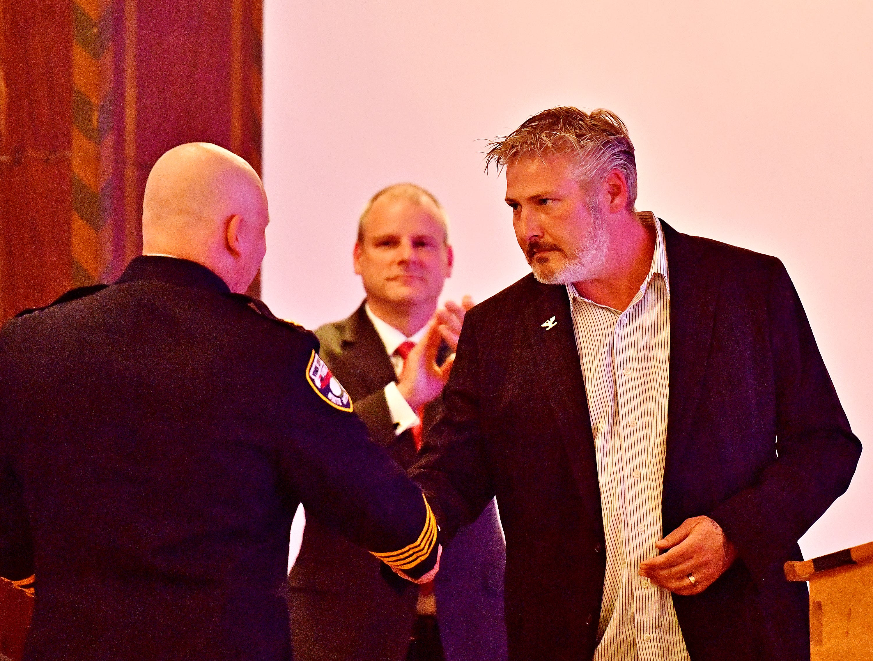 West York Borough Chief of Public Safety Matthew Millsaps commends York City Police Chief Troy Bankert during the York City Police Departmental Awards Ceremony at Valencia Ballroom in York City, Thursday, May 9, 2019. Dawn J. Sagert photo