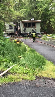 Crews fought a fire at a Newberry Township mobile home in the 2000 block of Red Bank Road Thursday, May 9. Photo courtesy of Newberry Township Fire Department.