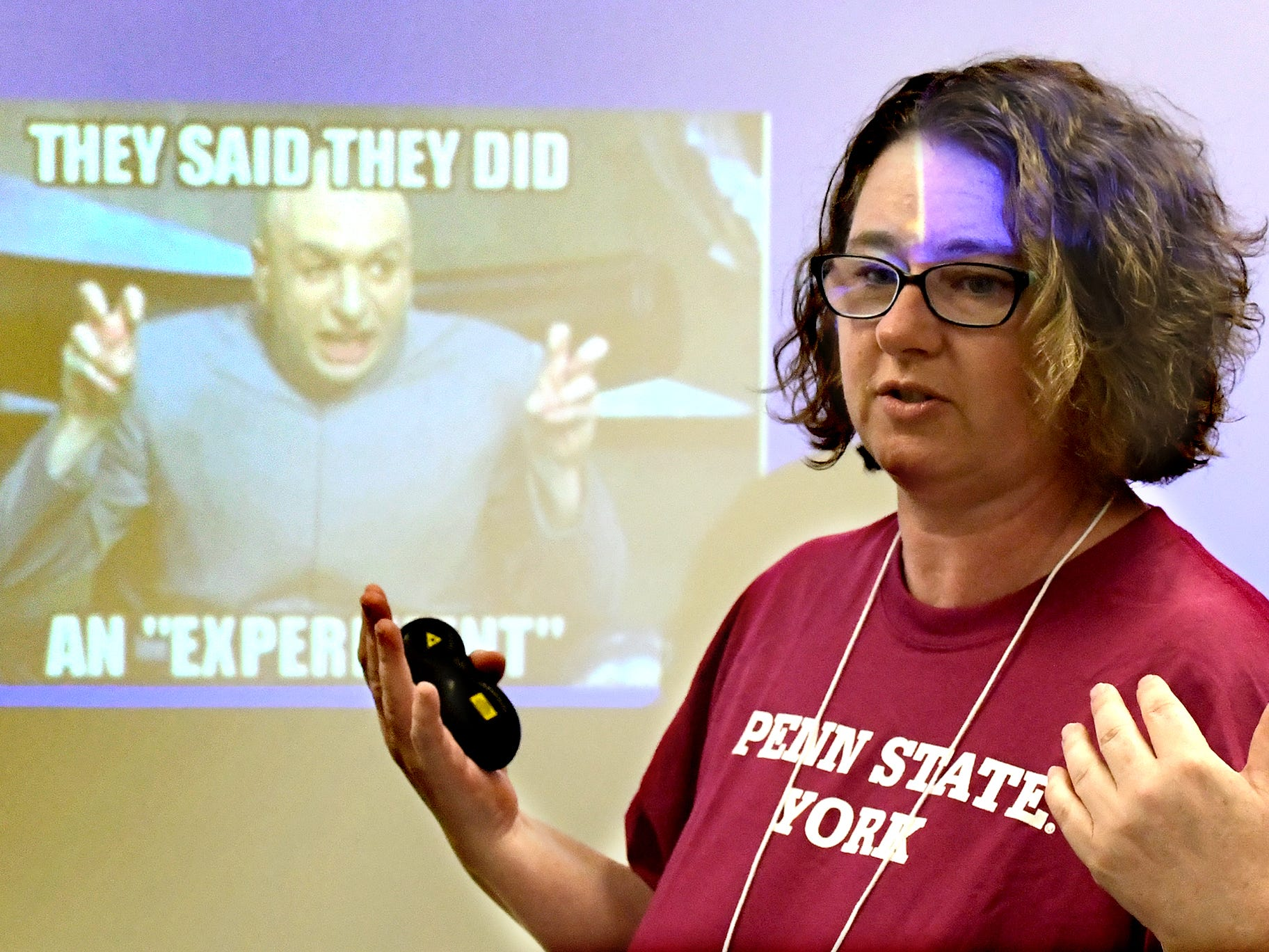 """Penn State York professor of human development Sonia Molloy leads the """"Marshmallow Minds"""" social science workshop for South Eastern Middle School students during at the Pathways to Your Future: Exploring STEAM Careers event at Penn State York Friday, May 10, 2019. Over 200 seventh-grade girls from 28 area schools participated in the program which highlighted science, technology, engineering, art, and mathematics (STEAM) careers. Industry leaders administered the workshops during the program, which is in its 23rd year. Bill Kalina photo"""