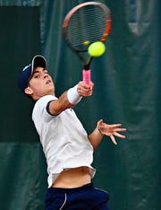 Dallastown's Sebastian May, seen here in a file photo, rolled to an easy win at No. 3 singles on Tuesday in a PIAA Class 3-A first-round match against Williamsport.