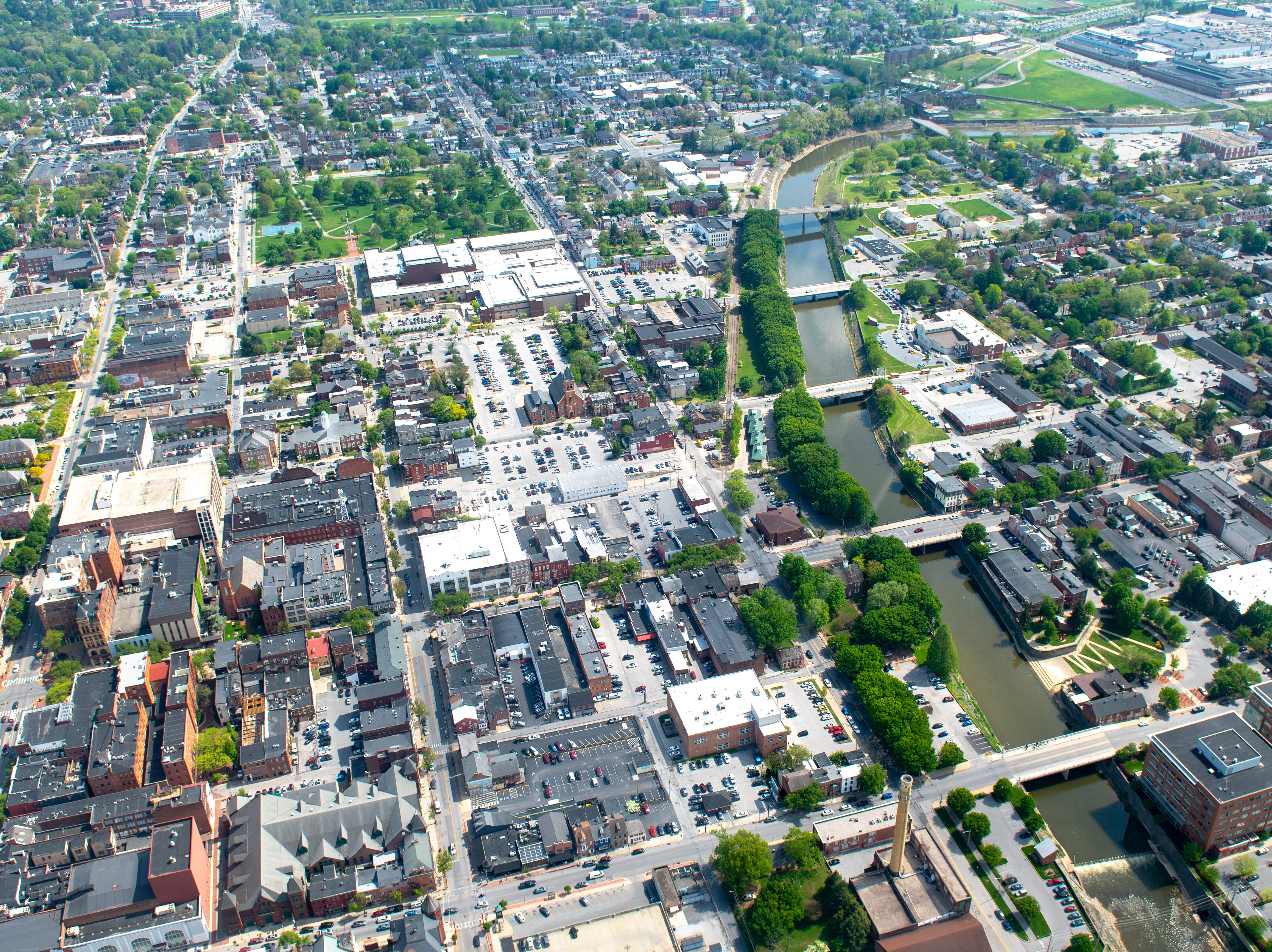 This is a birds eye view of downtown York. Cars look like tiny ants from this height, May 2, 2019.