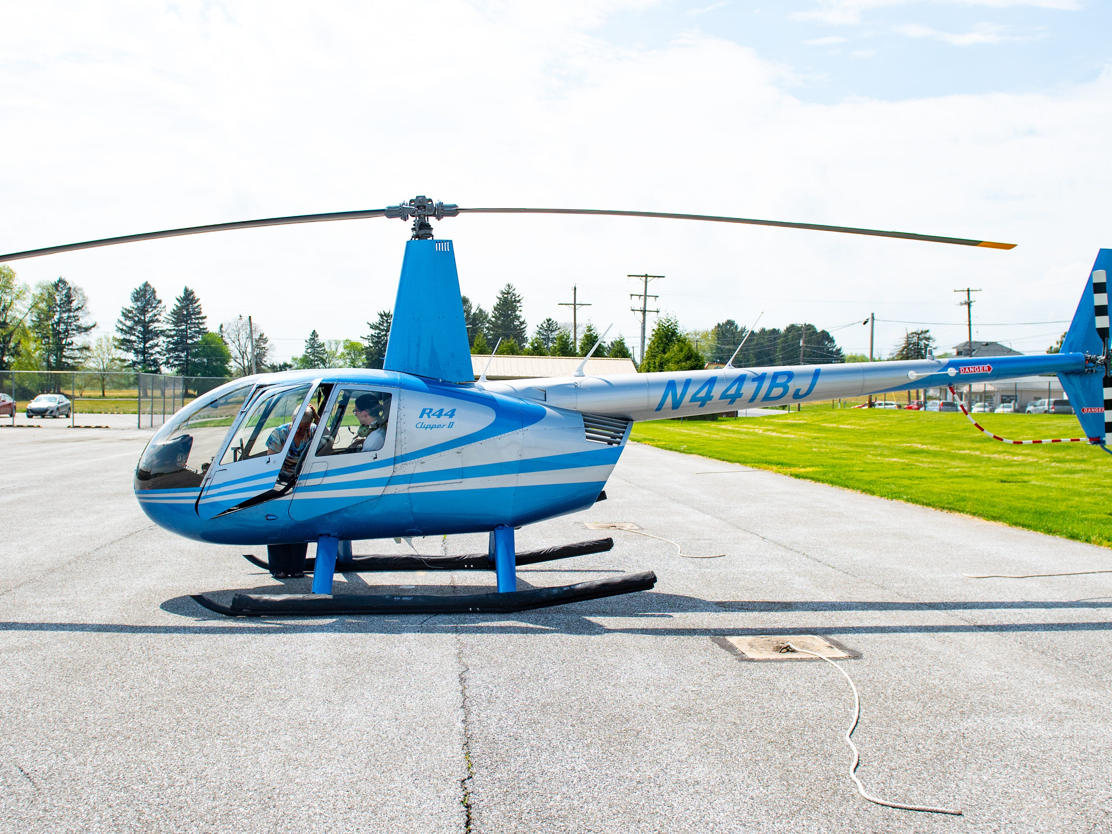 """The """"N441BJ"""" on the tail of the helicopter aren't just a collection of random letters and numbers. According to Judith Redlawsk, the one is for the first helicopter, the """"B"""" is for her husband Bernie and the """"J"""" for Judith, May 2, 2019."""