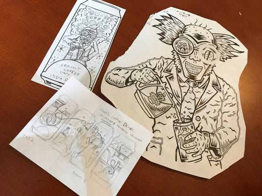 """York artist Zach Rupert helped design the logo for Sheetz first-ever craft beer, """"Project Coffee Hopz."""" Pictured are the various drafts compiled before the final design was rendered."""