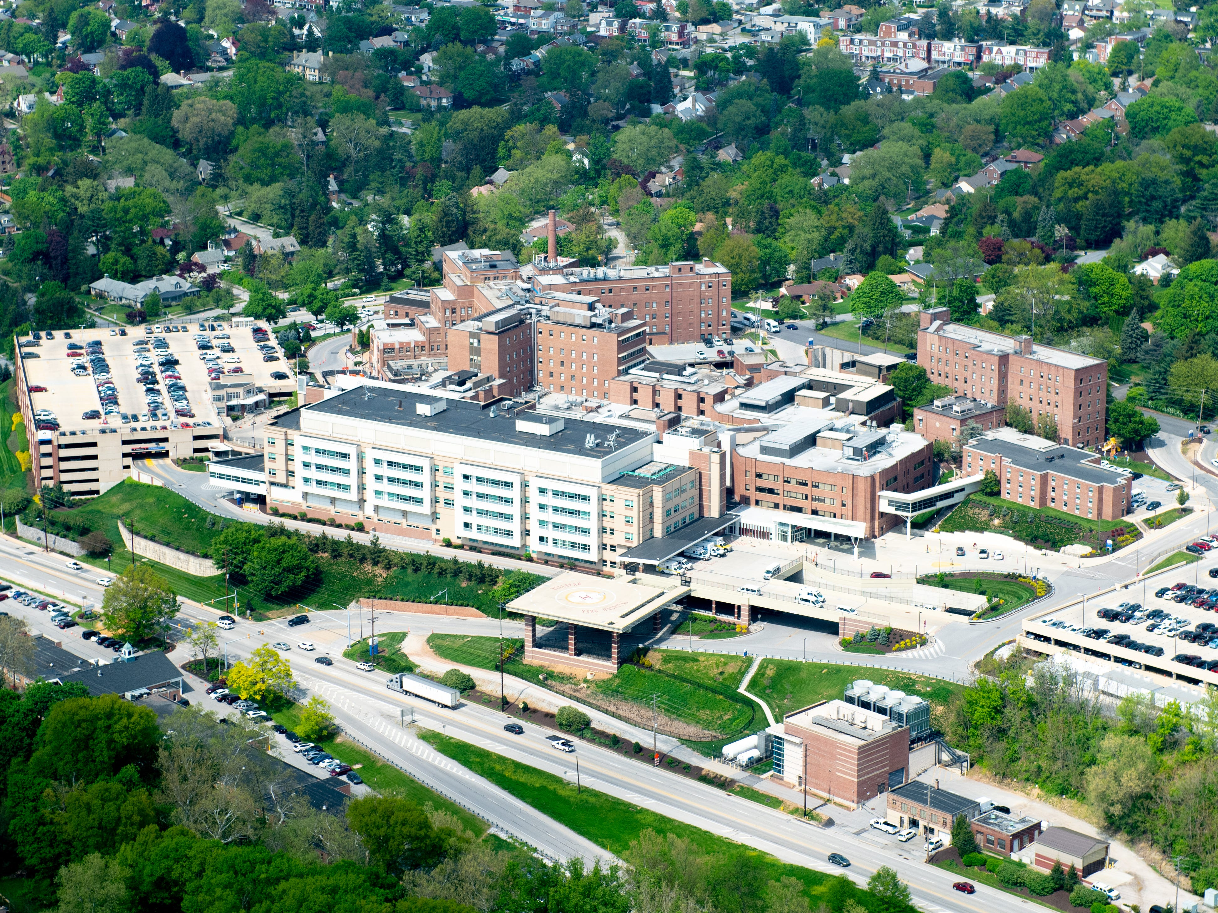 This is WellSpan York Hospital from hundreds of feet above the ground, May 2, 2019.