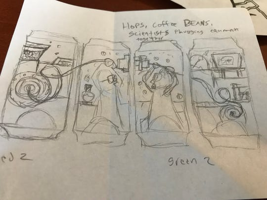 """One of the initial 4-can designs for the """"Project Coffee Hopz"""" label. York artist Zach Rupert helped designed the logo that will be used. The beer will be available in 55 Sheetz locations across Pennsylvania on Tuesday, May 21."""