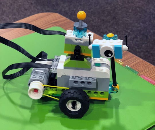 One of the Lego robots features in Reno Technology Academy's summer robotics camp in 2018.