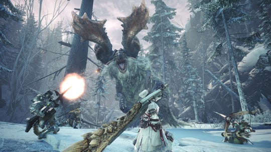 "A team of hunters face new monster Banbaro in the ""Monster Hunter World Iceborne"" expansion."