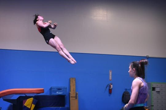 Malia Hargrove practices a vault at Flips USA Gymnastics in Sparks on May 8, 2019.