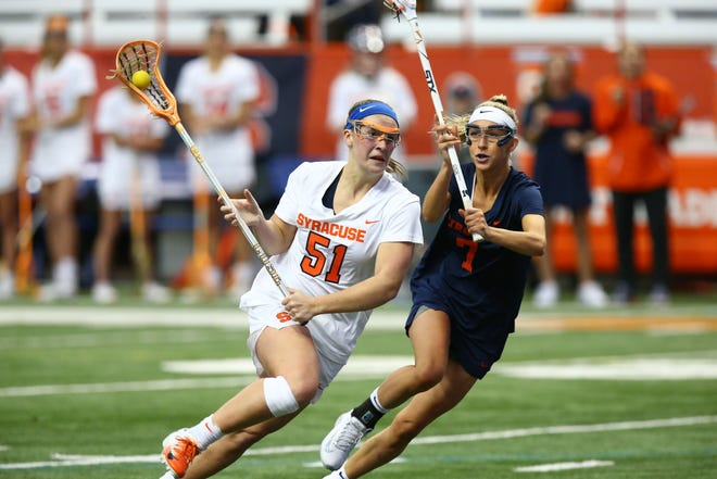 Victor graduate Emily Hawryschuk, left, is the top scorer for the Syracuse University women's lacrosse team.