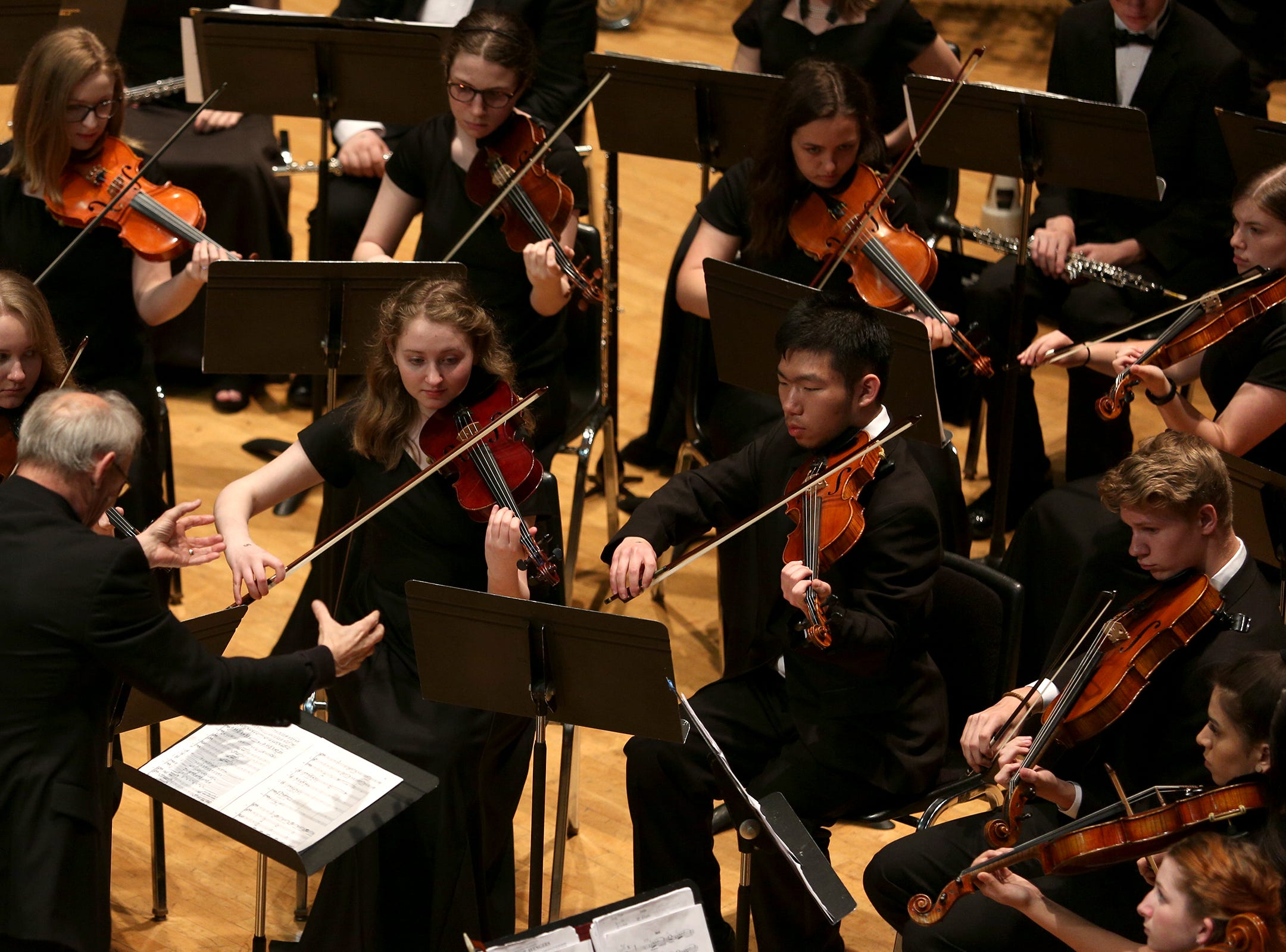 Sprague High School's Orchestra, under director Rick Greenwood, performs at the OSAA 6A Orchestra State Championships at Oregon State University in Corvallis on May 9, 2019.