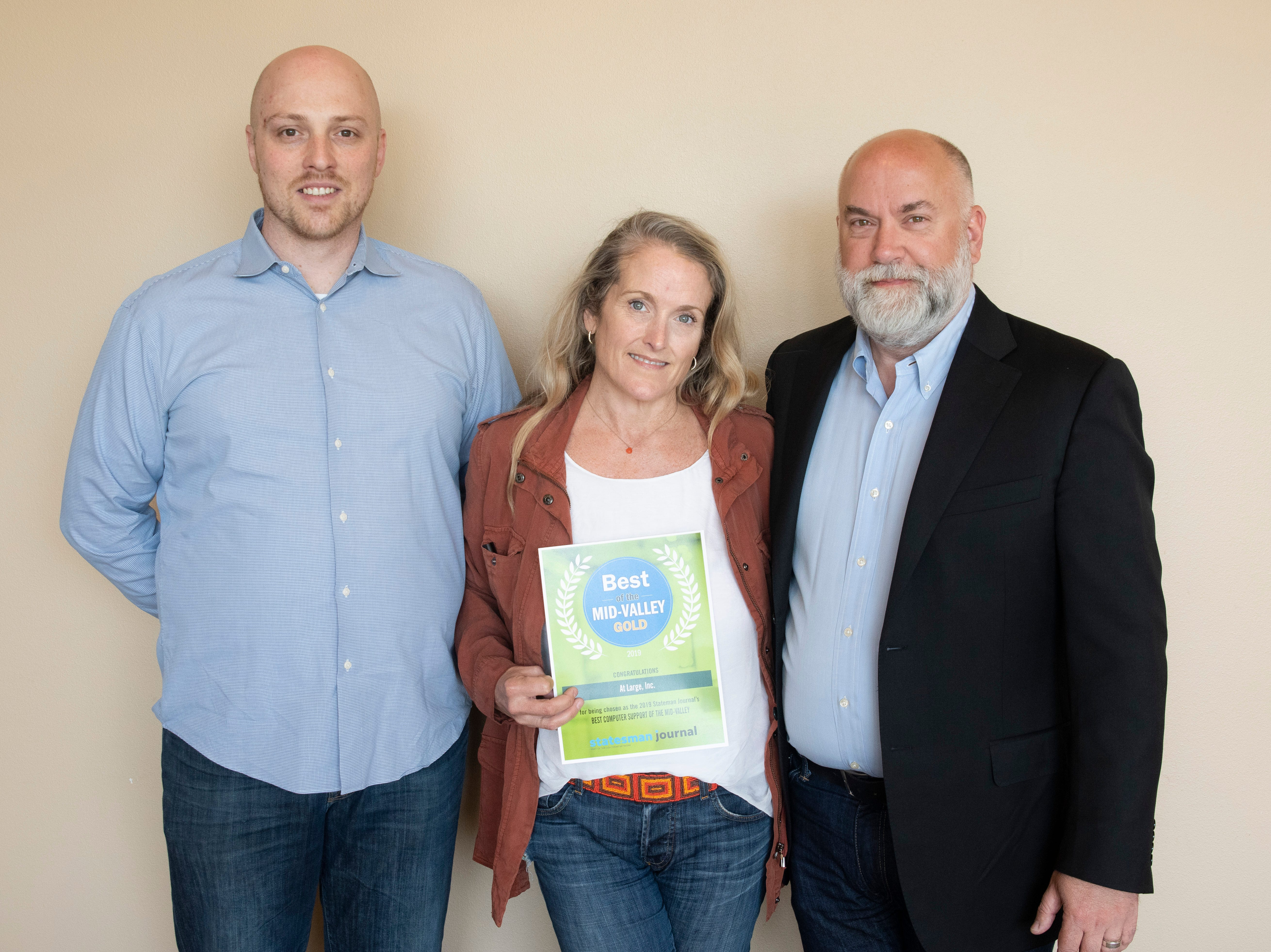 At Large won gold for Best Computer Support in the 2019 Best of the Mid-Valley.