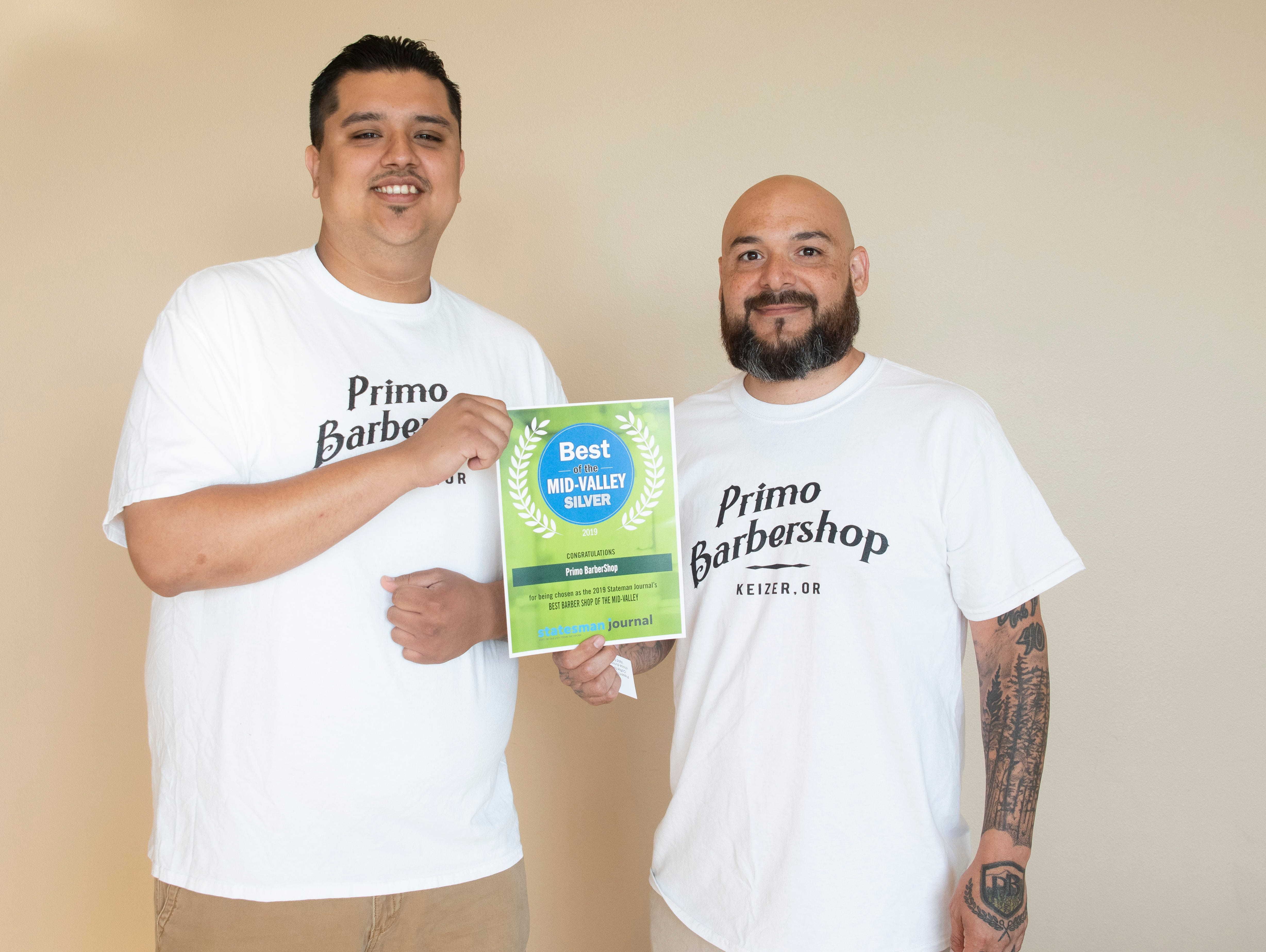 Primo Barbershop won silver for Best Barber Shop in the 2019 Best of the Mid-Valley.