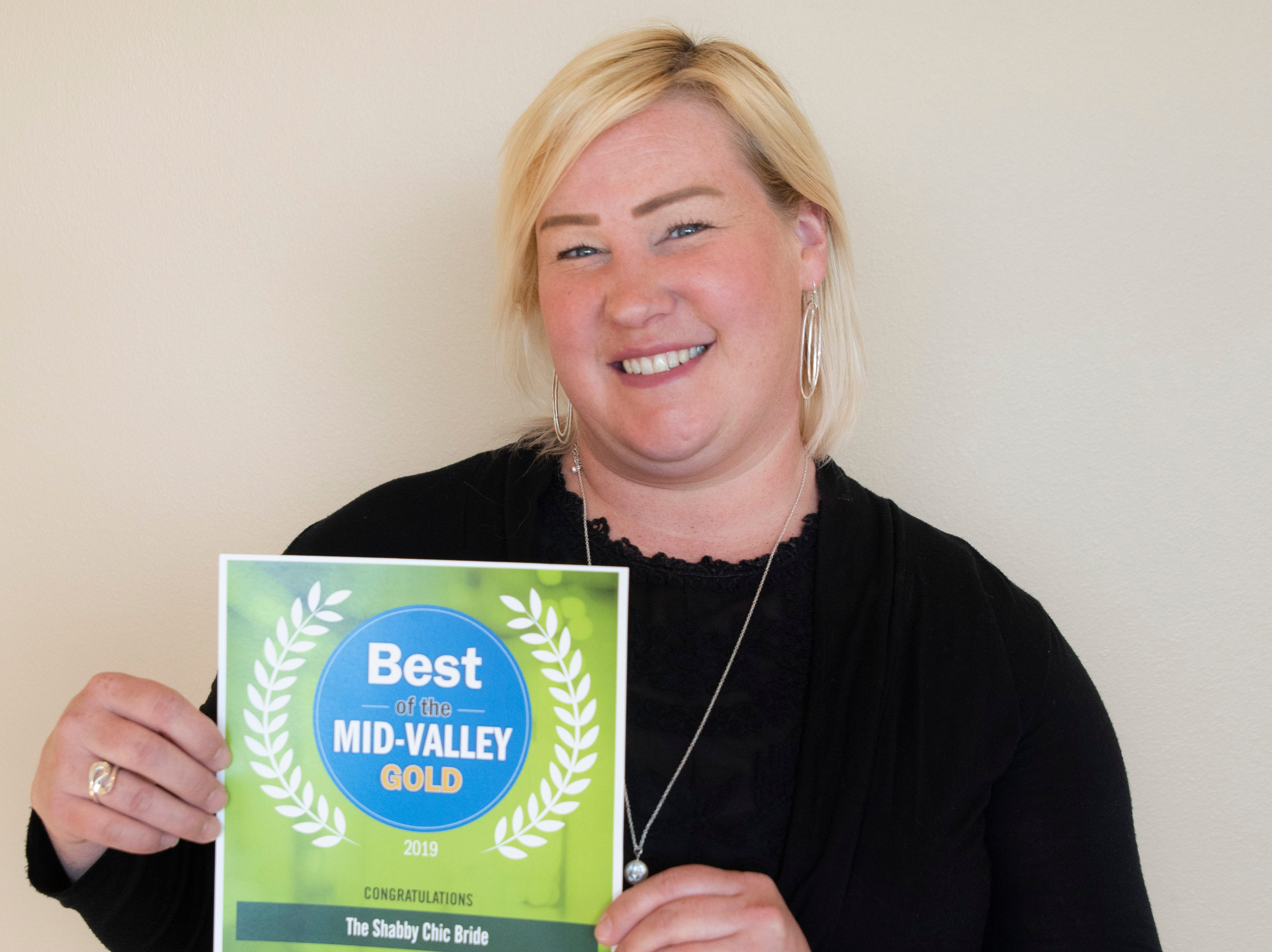 The Shabby Chic Bride won gold for Best Bridal Shop in the 2019 Best of the Mid-Valley.