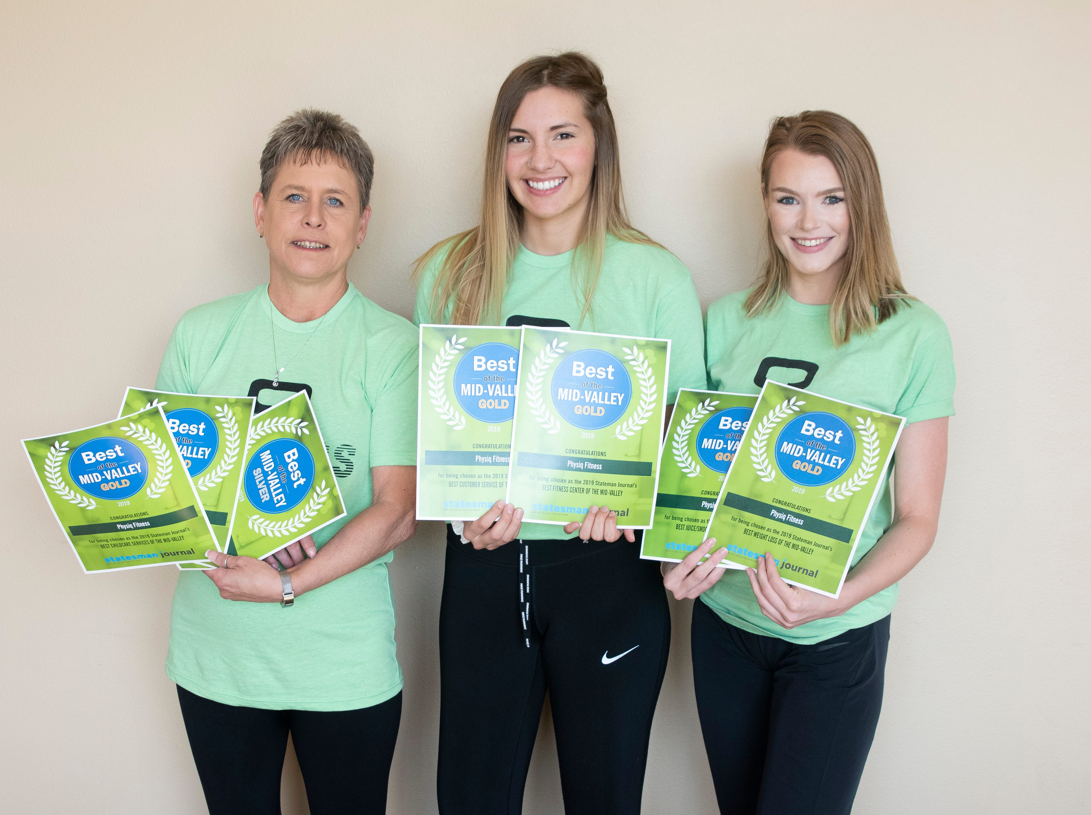 Physiq Fitness won gold for Best Fitness Center, Best Customer Service, Best Weight Loss, Best Juice/Smoothie, Best Childcare Services in the 2019 Best of the Mid-Valley.