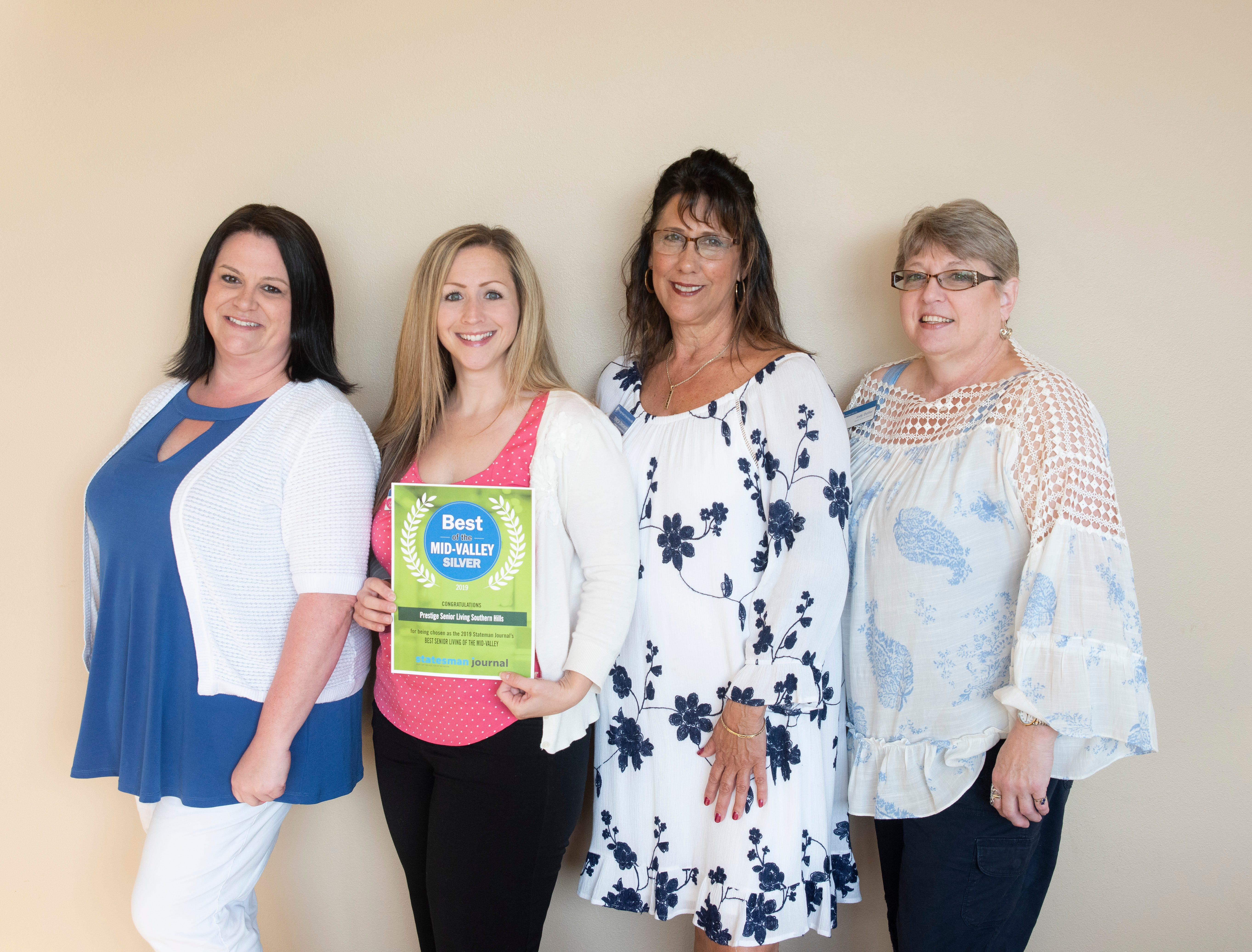 Prestige Senior Living Southern Hills won silver for Best Senior Living in the 2019 Best of the Mid-Valley.