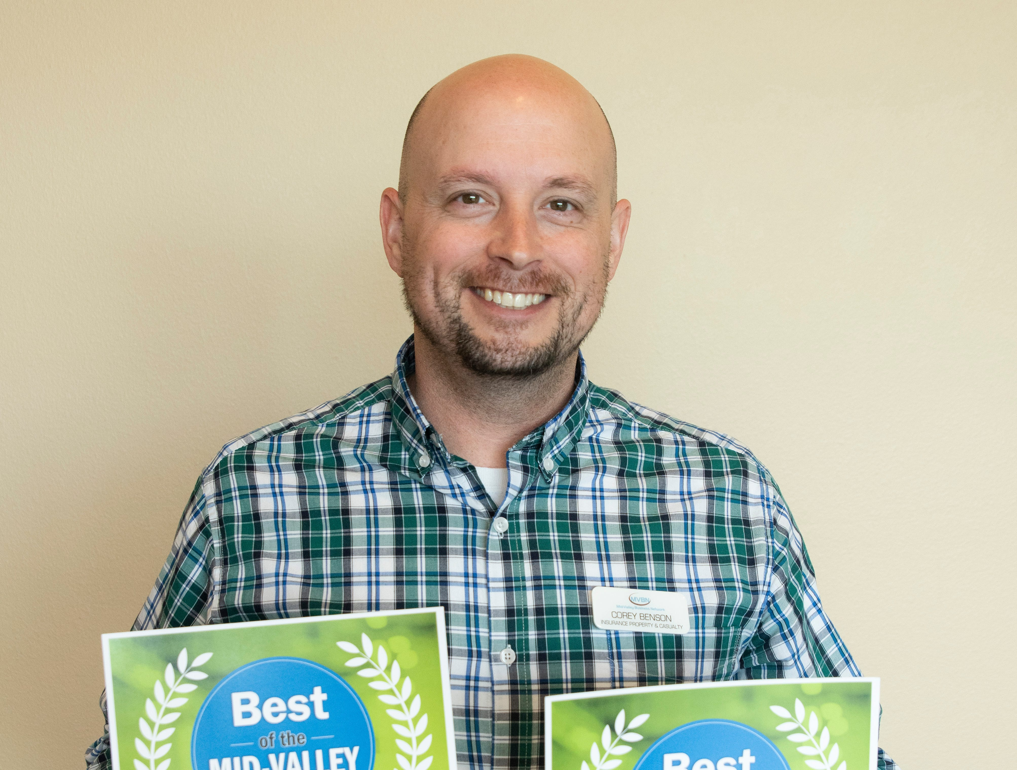 Corey Benson won silver for Best Insurance Agent and Farmers won bronze for Best Insurance Company in the 2019 Best of the Mid-Valley.