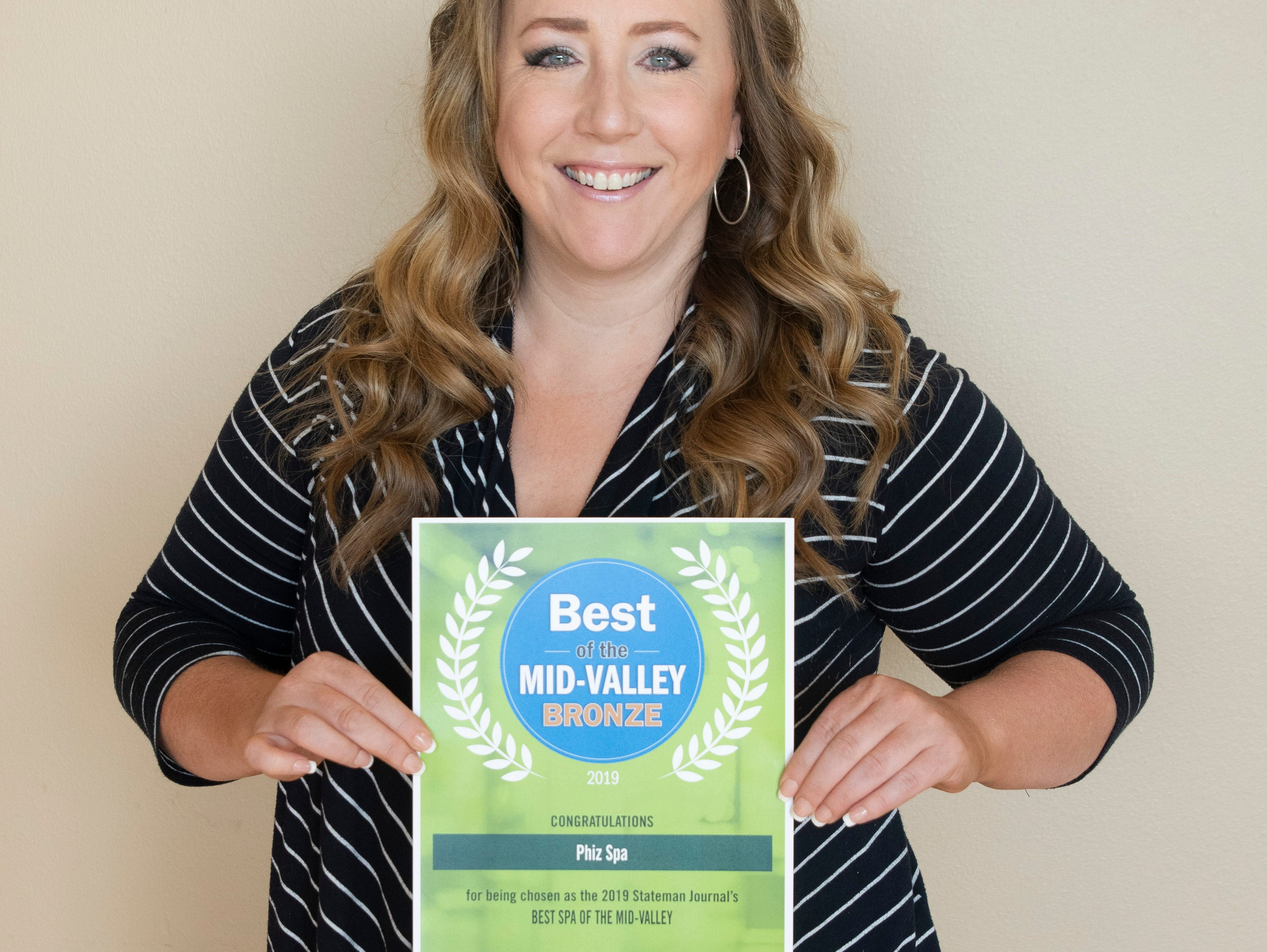 Phiz Spa won bronze for Best Spa in the 2019 Best of the Mid-Valley.