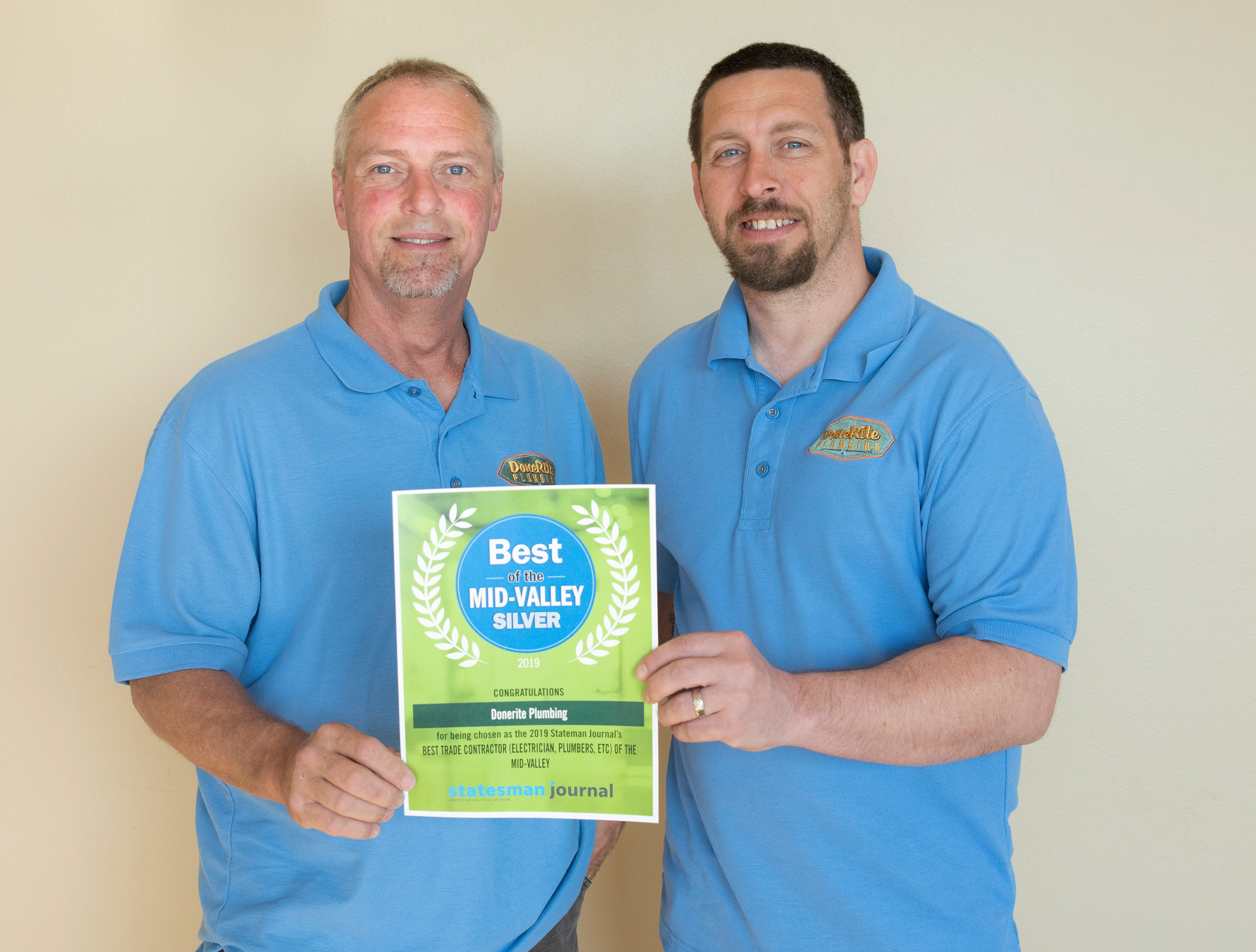 Donerite Plumbing won silver for Best Trade Contractor in the 2019 Best of the Mid-Valley.