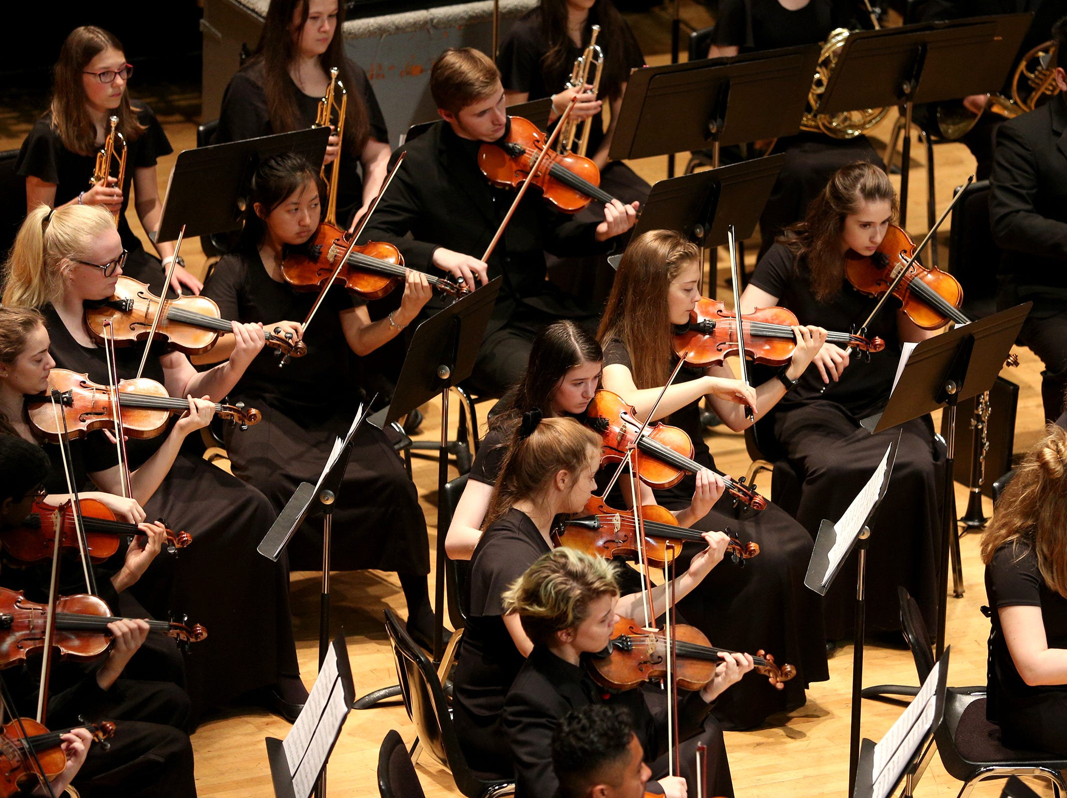 South Salem High School's Orchestra, under the direction of Damian Berdakin, performs at the OSAA 6A Orchestra State Championships at Oregon State University in Corvallis on May 9, 2019.