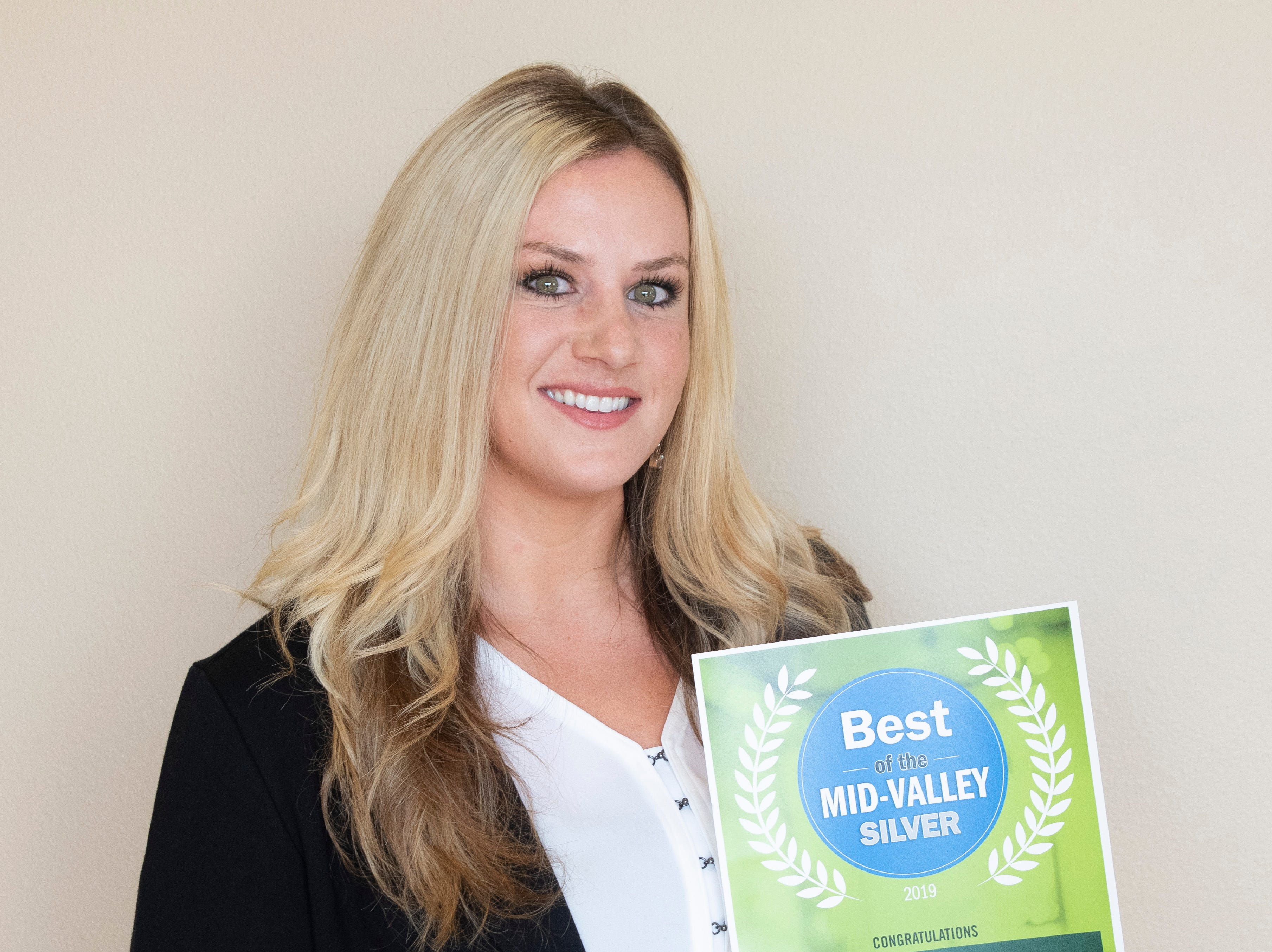 Caitlin Davis of Edward Jones won silver for Best Financial Advisor in the 2019 Best of the Mid-Valley.