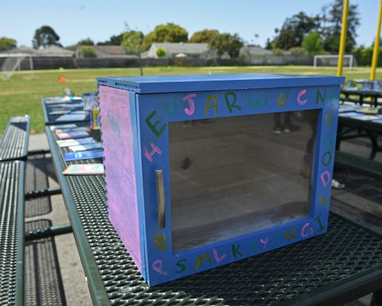 """Salinas senior Isabella Perez built two """"book boxes"""" in her woodshop class for the donated books to be stored."""