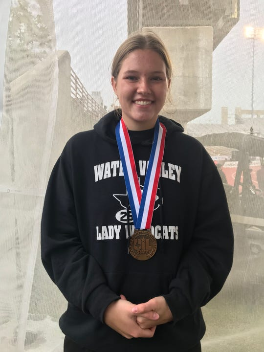 Water Valley High School's Kendra Hoover finished third in the Class 1A girls discus throw Friday, May 10, 2019, at the UIL State Track and Field Championships in Austin.