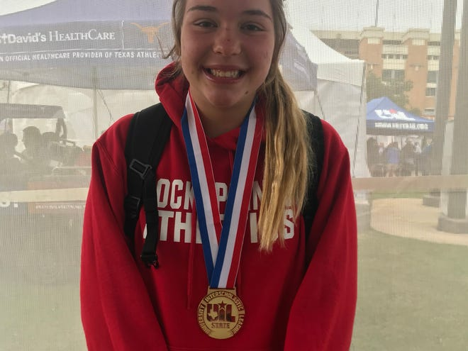 Rocksprings High School's Zoe Burleson broke her own state-meet record in winning her third gold medal in the 1A girls discus throw at the UIL State Track and Field Championships on Friday, May 10, 2019, in Austin. It was her third state-meet record.