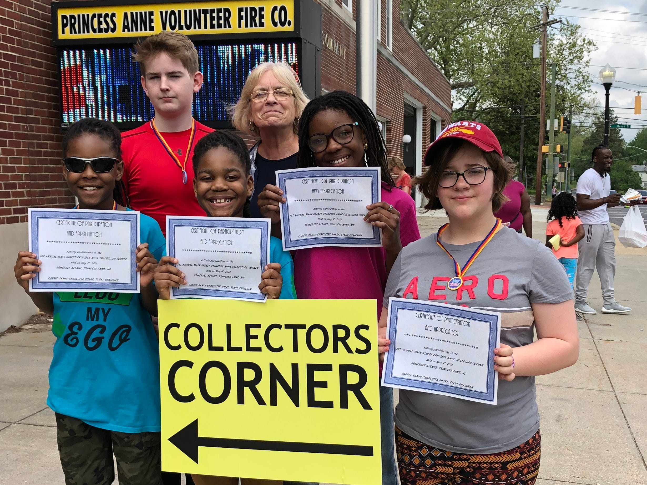 Main Street Princess Anne sponsored a new addition to Street Fest 2019, the Collectors Corner. Adult and youth exhibitors displayed their favorite collections. Youth exhibitors included, front from left, Zariyon Hatcher, 10, Zorren Hatcher, 8, Zaina Hatcher, 12, and Michelle Jones, 13. In the back are, Caleb Parks, 12, left and Dee Savarese, member of the Main Street Princess Anne Board of Directors.