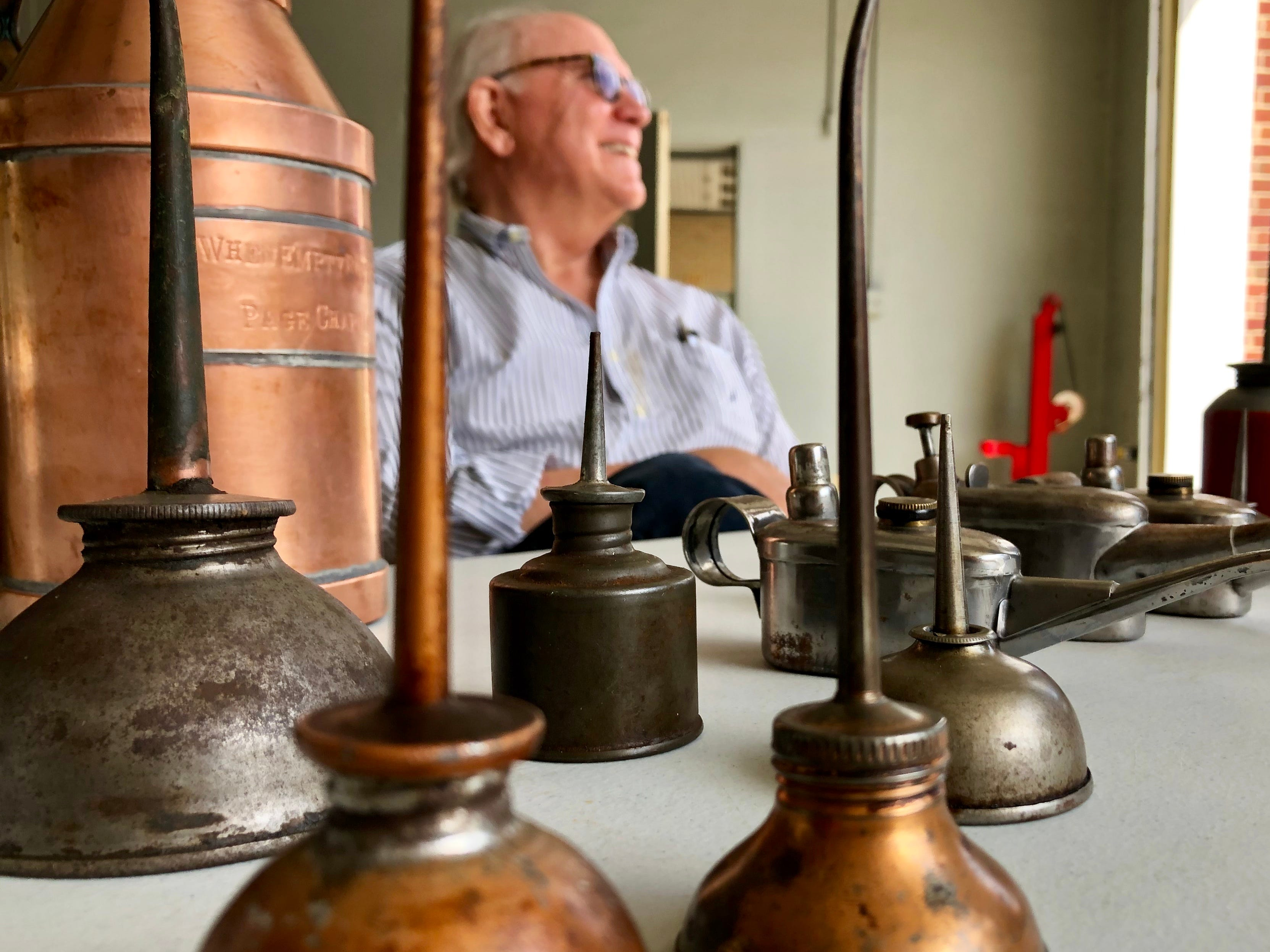 Jim Sharf displayed an impressive collection of vintage American-made oil cans at the Collectors Corner during the Princess Anne Street Fest.
