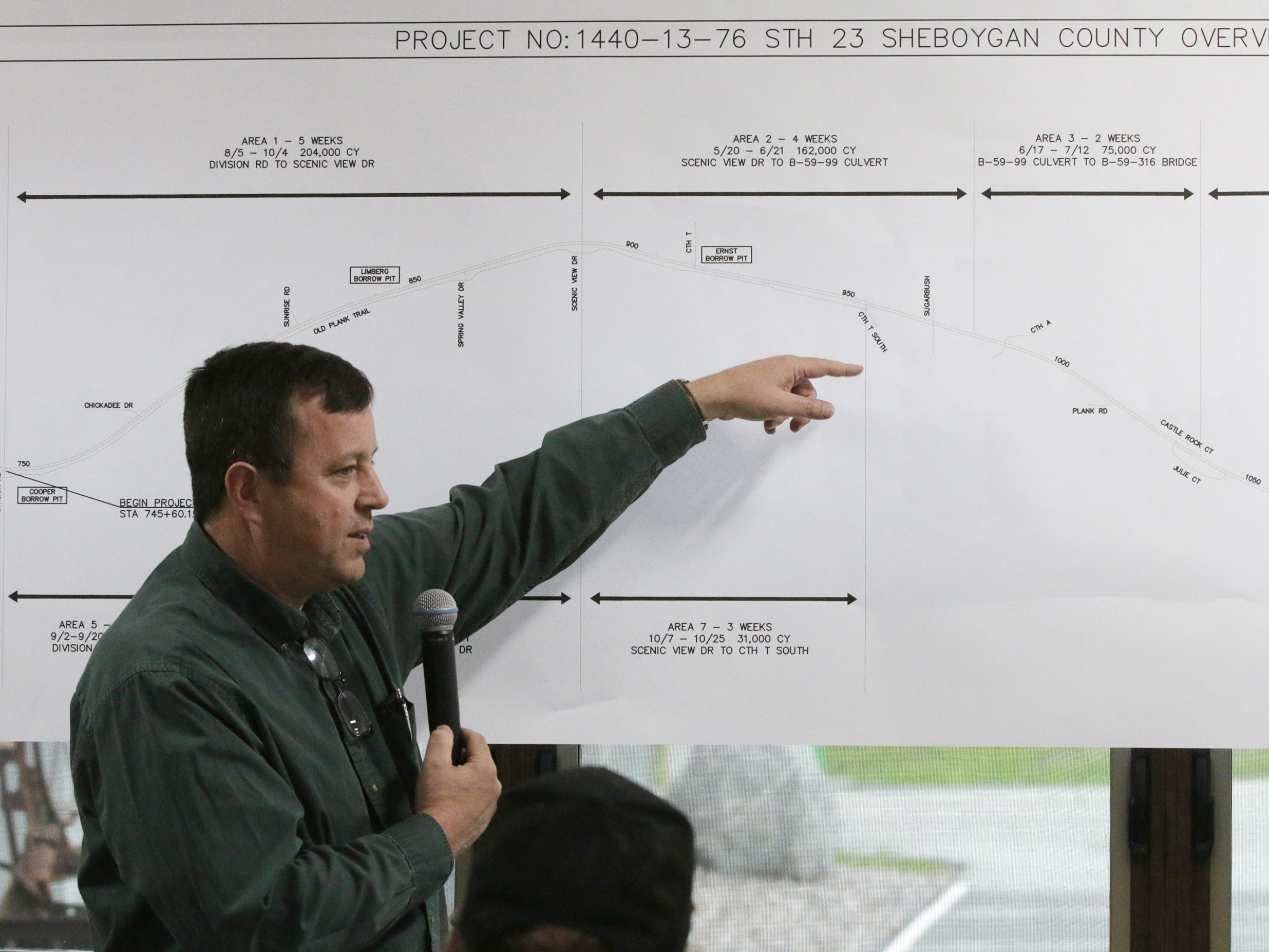 Relyco's Tom Ceske explains details about the state Highway 23 four-lane expansion project during a meeting at the Sheboygan County Transportation facility, Thursday, May 9, 2019, in Plymouth, Wis. Relyco is the contractor for the project.