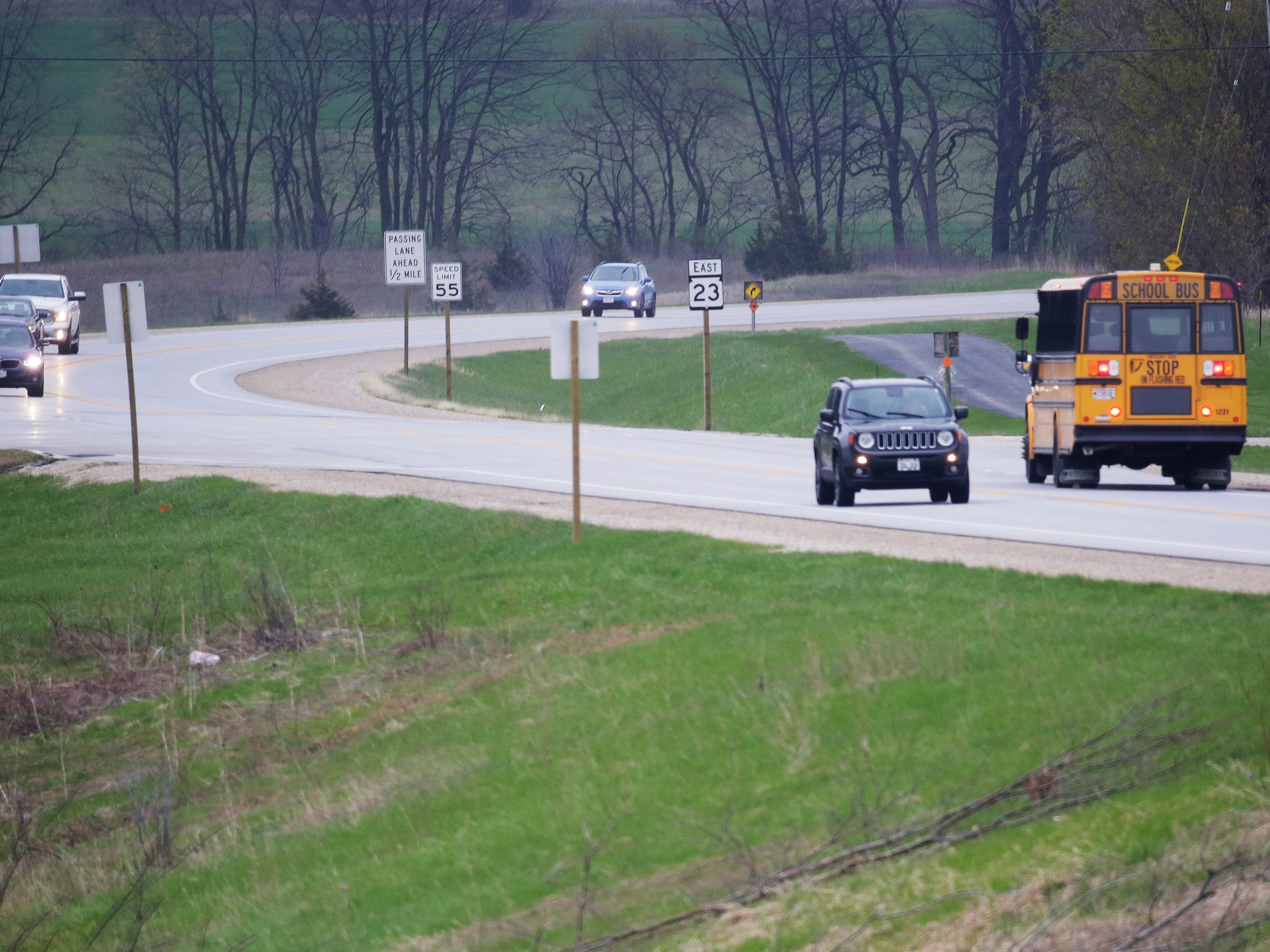 Vehicles travel east of the Wade House, Thursday, May 9, 2019, in Greenbush, Wis. State Highway 23 four-lane construction project will start next week.