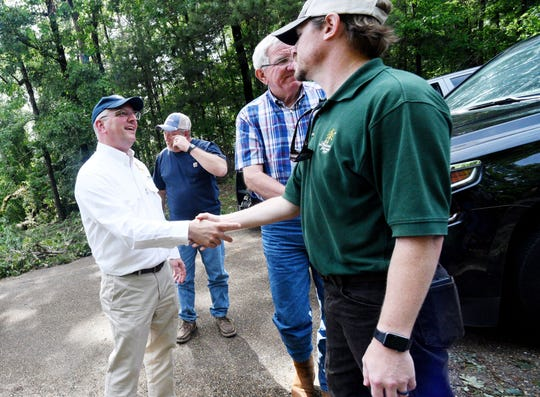 Gov. John Bel Edwards toured the damage at  Jimmie Davis State Park and Jackson Parish Thursday May 9, 2019 afternoon.