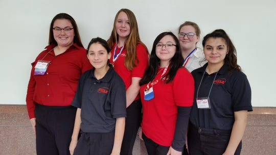 FCCLA members (left-to-right): Abby Stouffenacker, Kailena Campbell, Rylee Rinehart, Veronica Vanderloo, Faithe Larson, and Sequoia Parra.