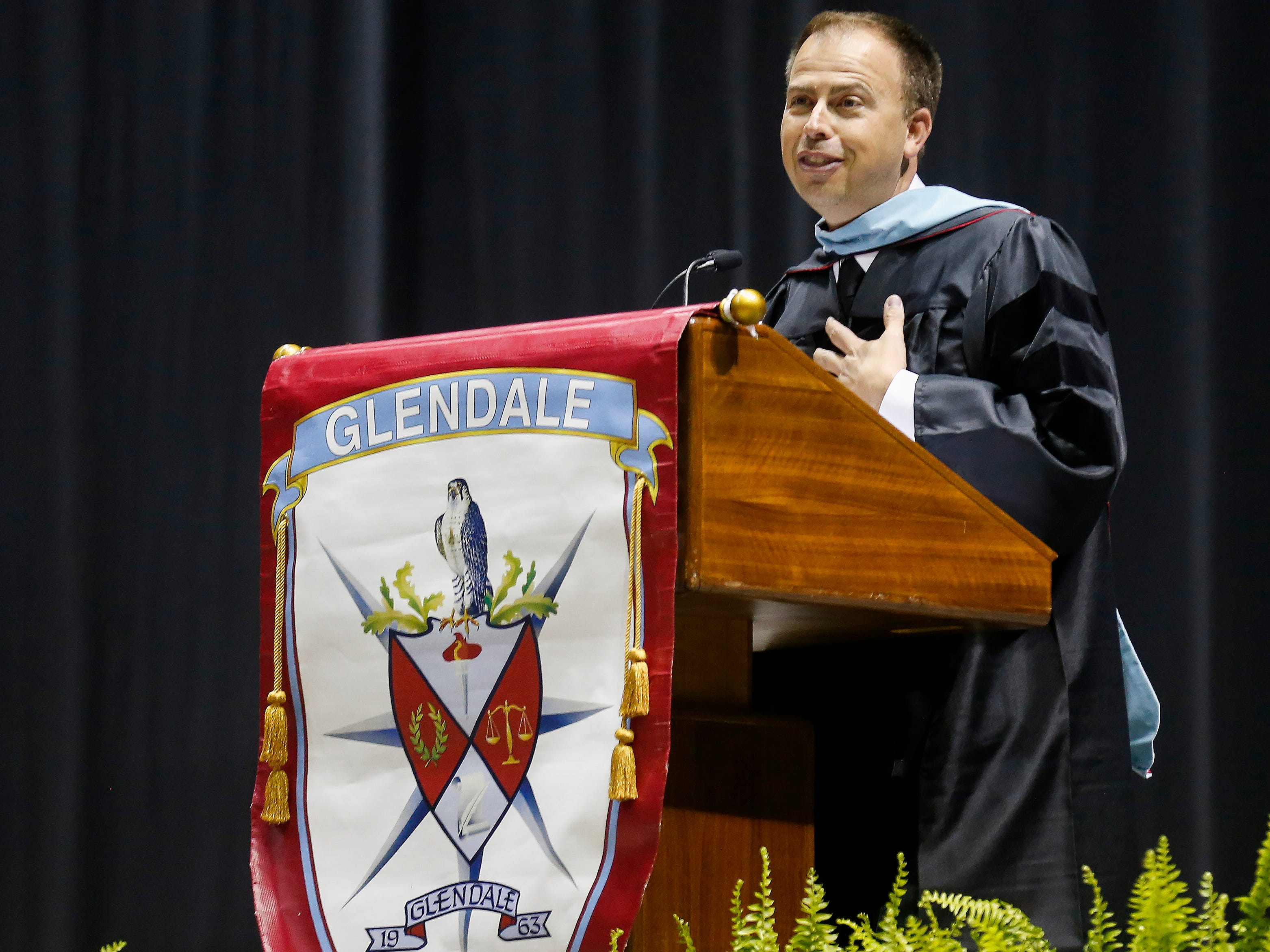 Superintendent John Jungmann speaks during Glendale High School's Commencement Ceremony at JQH Arena on Thursday, May 9, 2019.