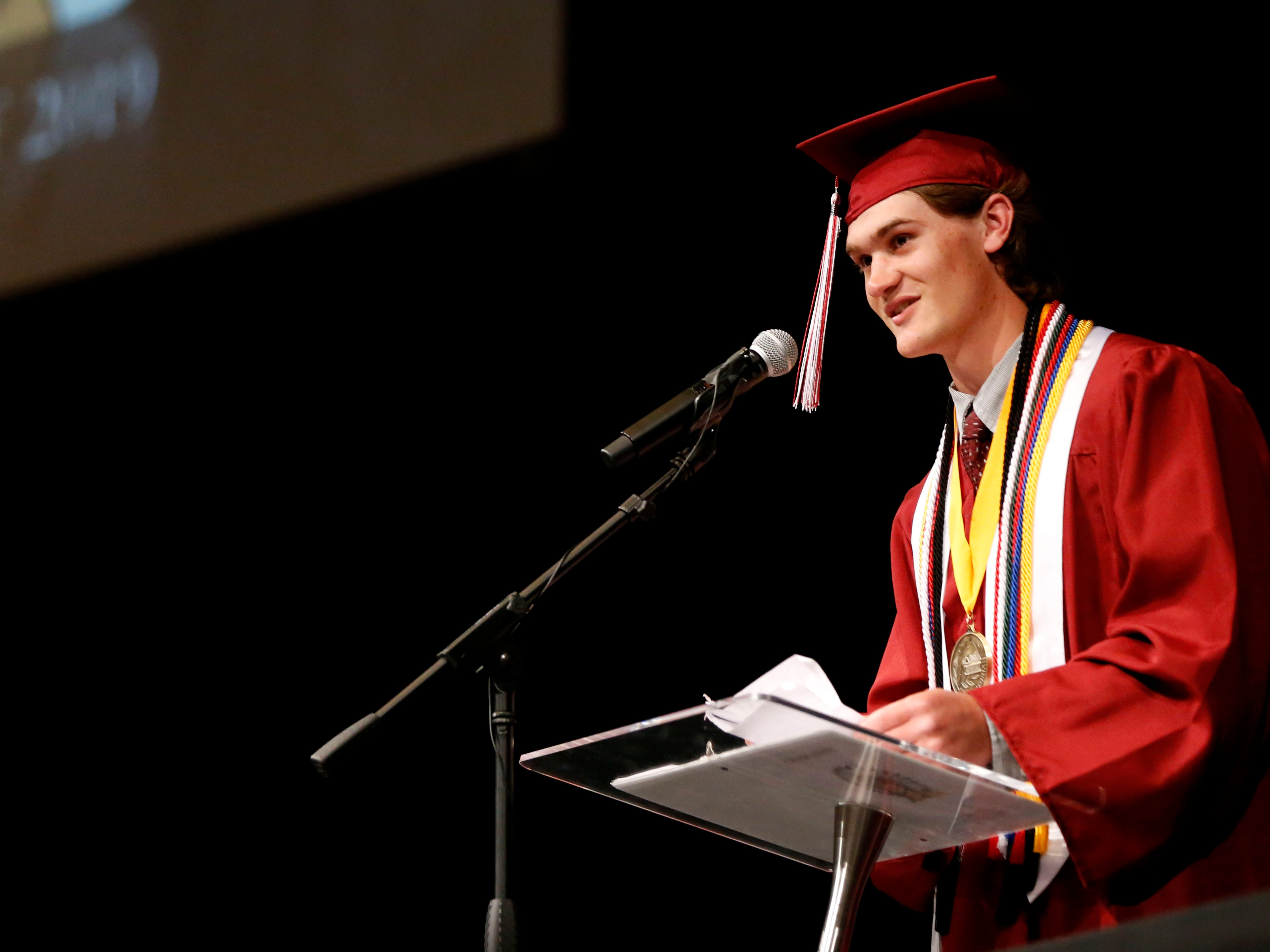 Strafford High School valedictorian Trayson Lawer gives a speech during the Strafford High School Commencement Ceremony at High Street Baptist Church on Thursday, May 9, 2019.