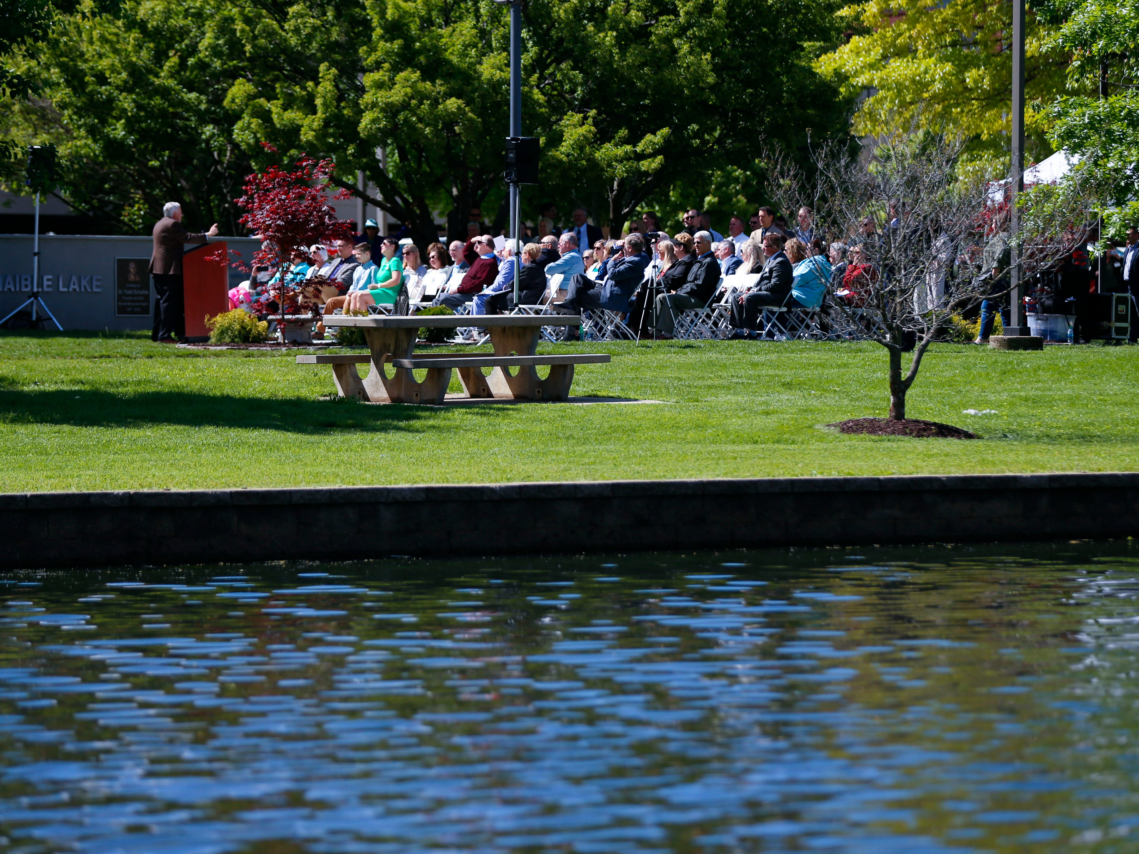 A dedication ceremony of Schaible Lake, named after Burrell Behavioral Health founder, Dr. Todd Schaible, on Friday, May 10, 2019.