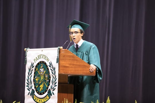 Andre Swai, a skilled debater at Parkview High School, was selected to give a speech during the 2019 graduation at JQH Arena.