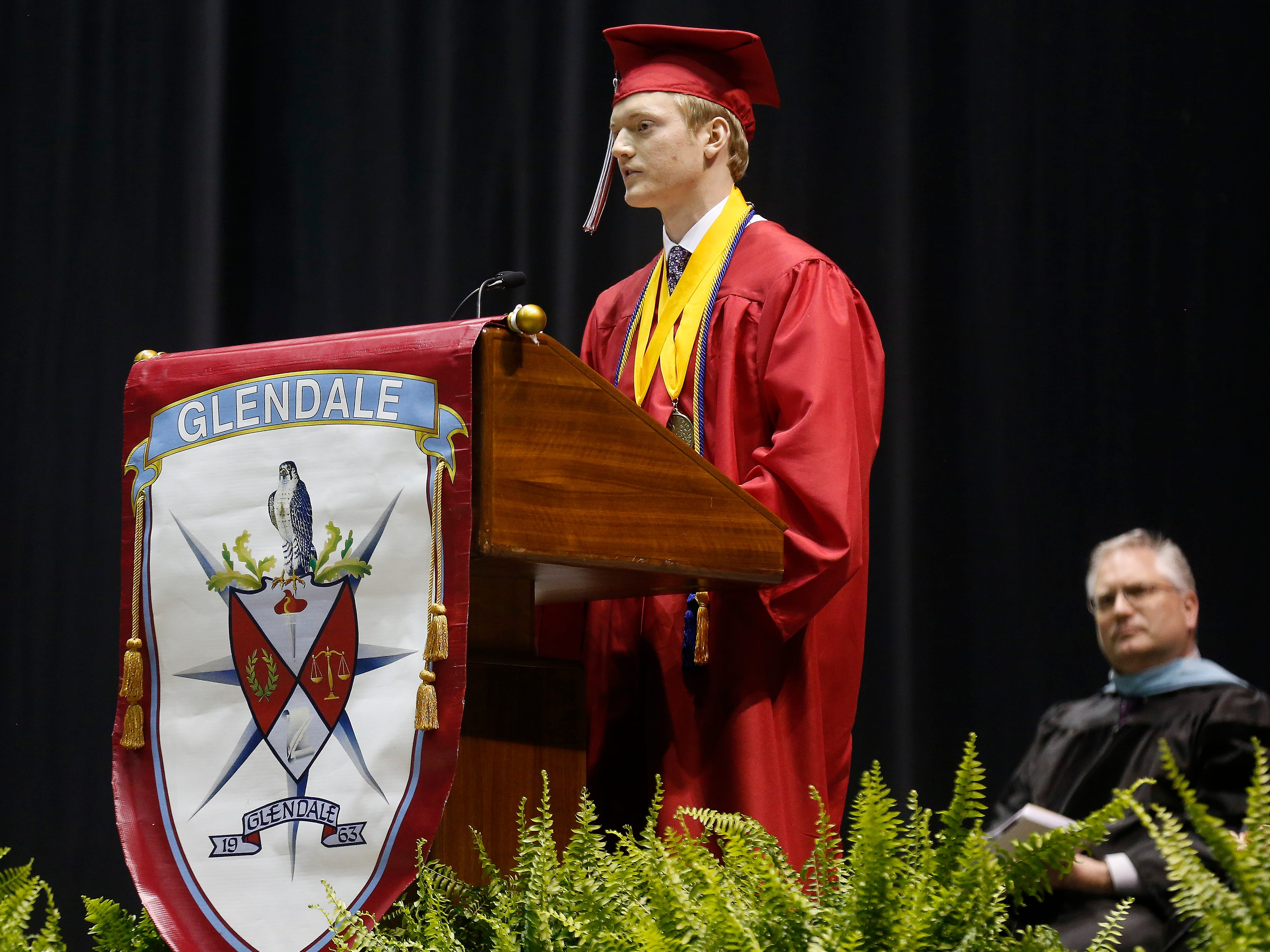 Ethan Miller speaks during Glendale High School's Commencement Ceremony at JQH Arena on Thursday, May 9, 2019.