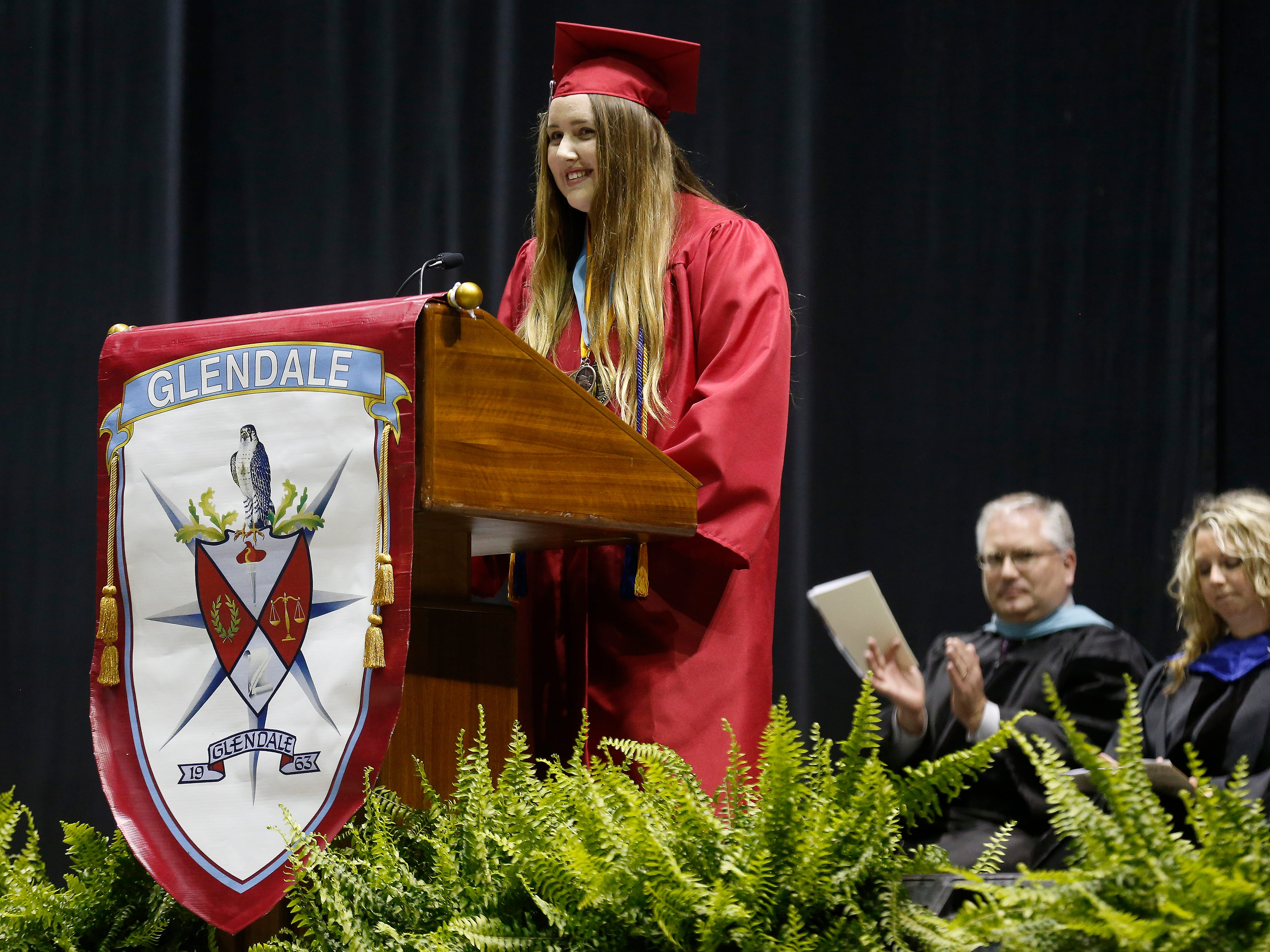 Kaitlyn Palmer speaks during Glendale High School's Commencement Ceremony at JQH Arena on Thursday, May 9, 2019.