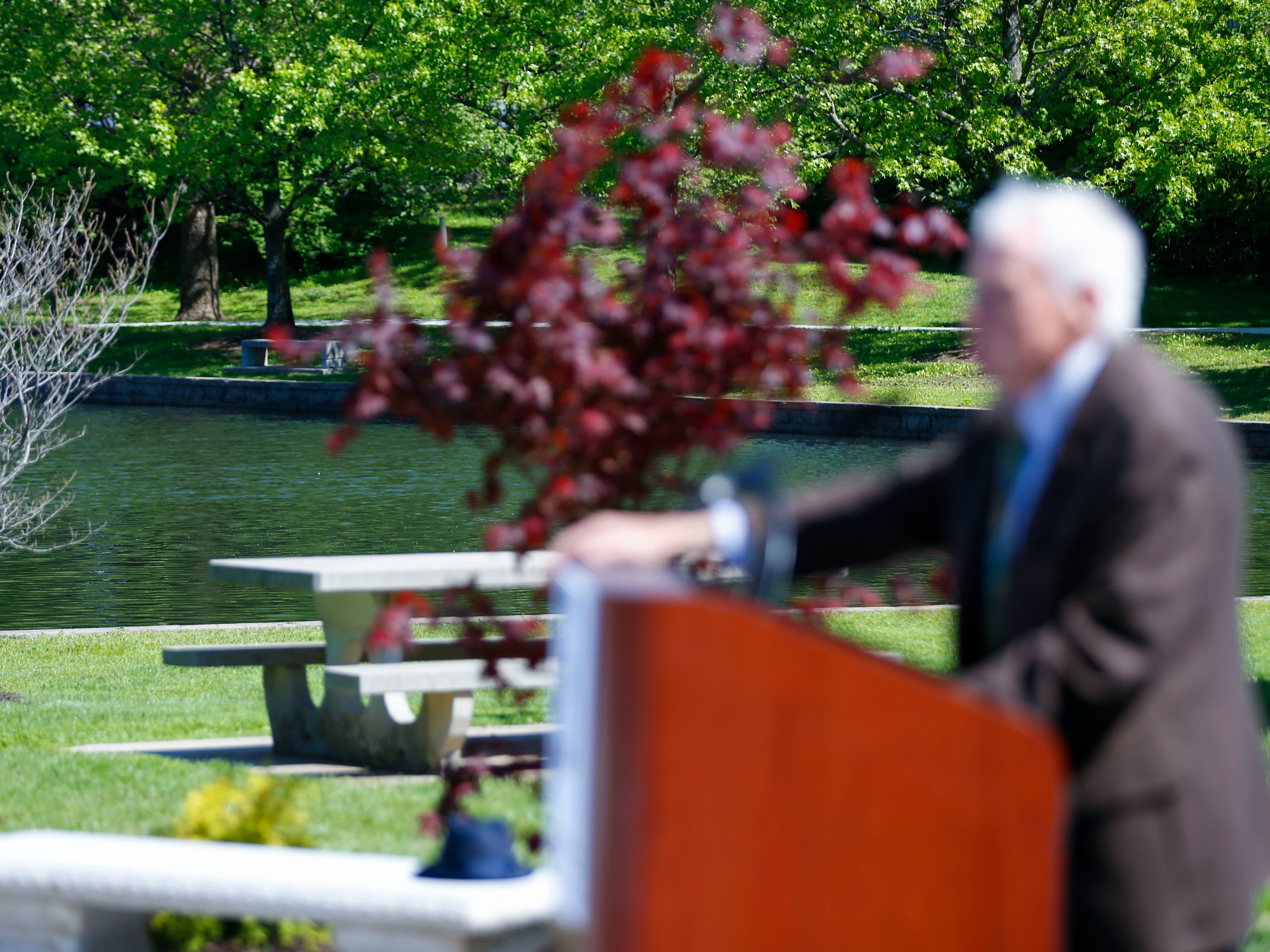 Dr. Keith Schafer, former director of the Missouri Department of Mental Health, speaks during a dedication ceremony of Schaible Lake, named after Burrell Behavioral Health founder, Dr. Todd Schaible, on Friday, May 10, 2019.