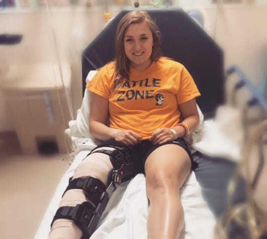Marybeth Strickler, a freshman at Alderson Broaddus University, tore the meniscus in her right knee this season.