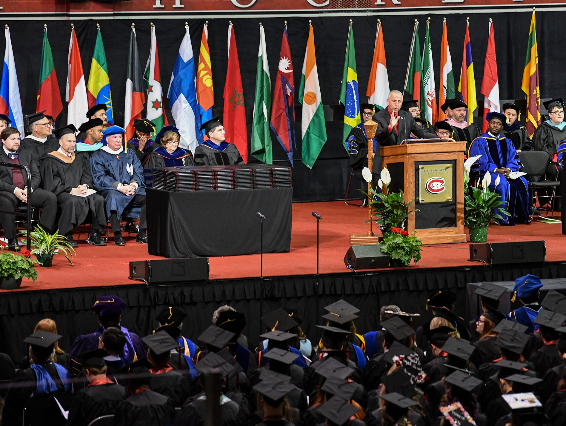 St. Cloud Mayor Dave Kleis speaks during the morning commencement ceremony Friday, May 10, in the Herb Brooks National Hockey Center at St. Cloud State University in St. Cloud.