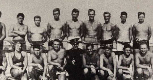 Jeanne Baldino and fellow Belmar, New Jersey, lifeguards pose in 1944.