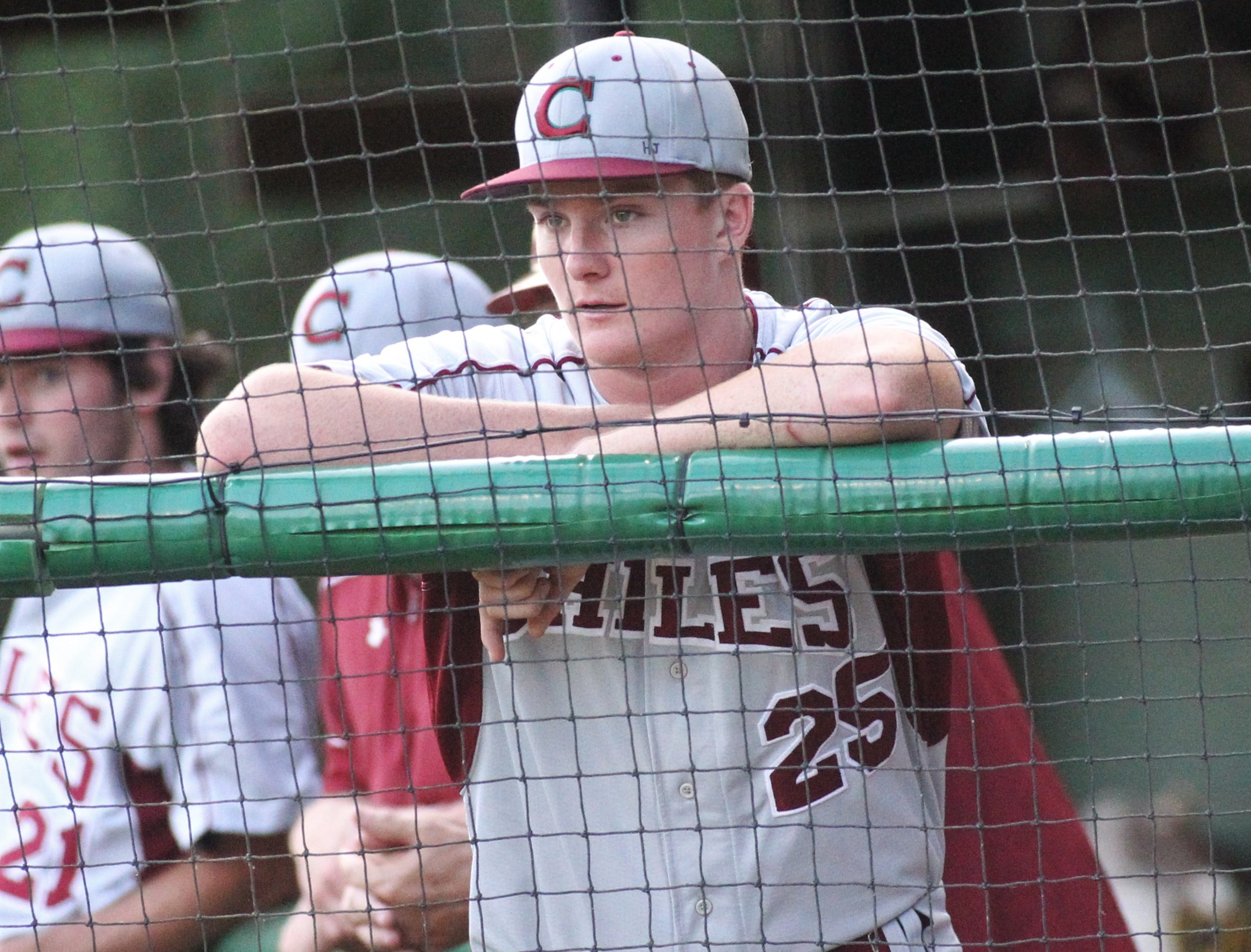 Chiles junior Wyatt Dodd watches as Lincoln baseball beat Chiles 5-4  in 10 innings during a District 2-8A championship game on Thursday, May 9, 2019.
