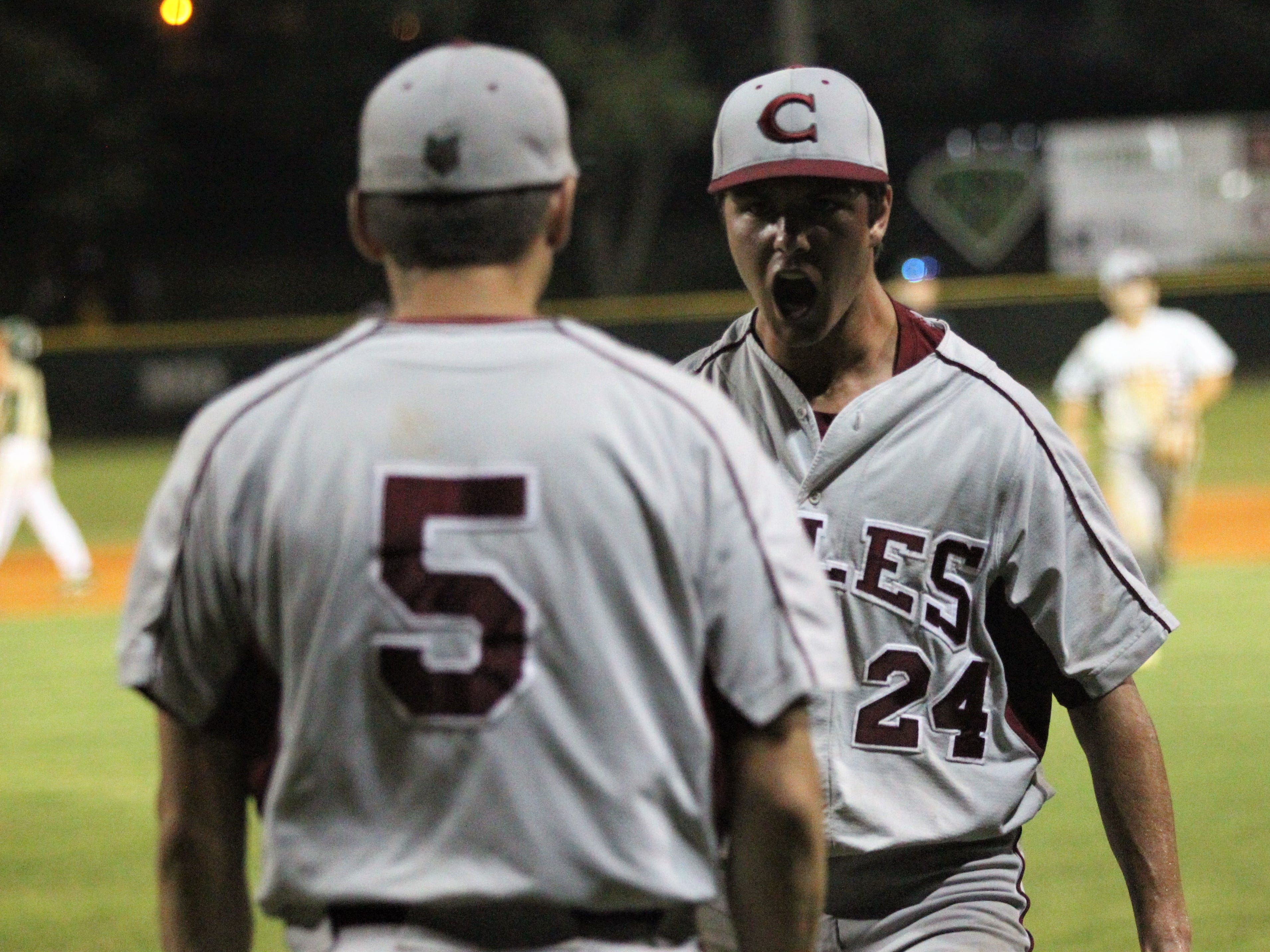 Chiles pitcher Bryson Cookey reacts to an inning-ending out as Lincoln baseball beat Chiles 5-4  in 10 innings during a District 2-8A championship game on Thursday, May 9, 2019.