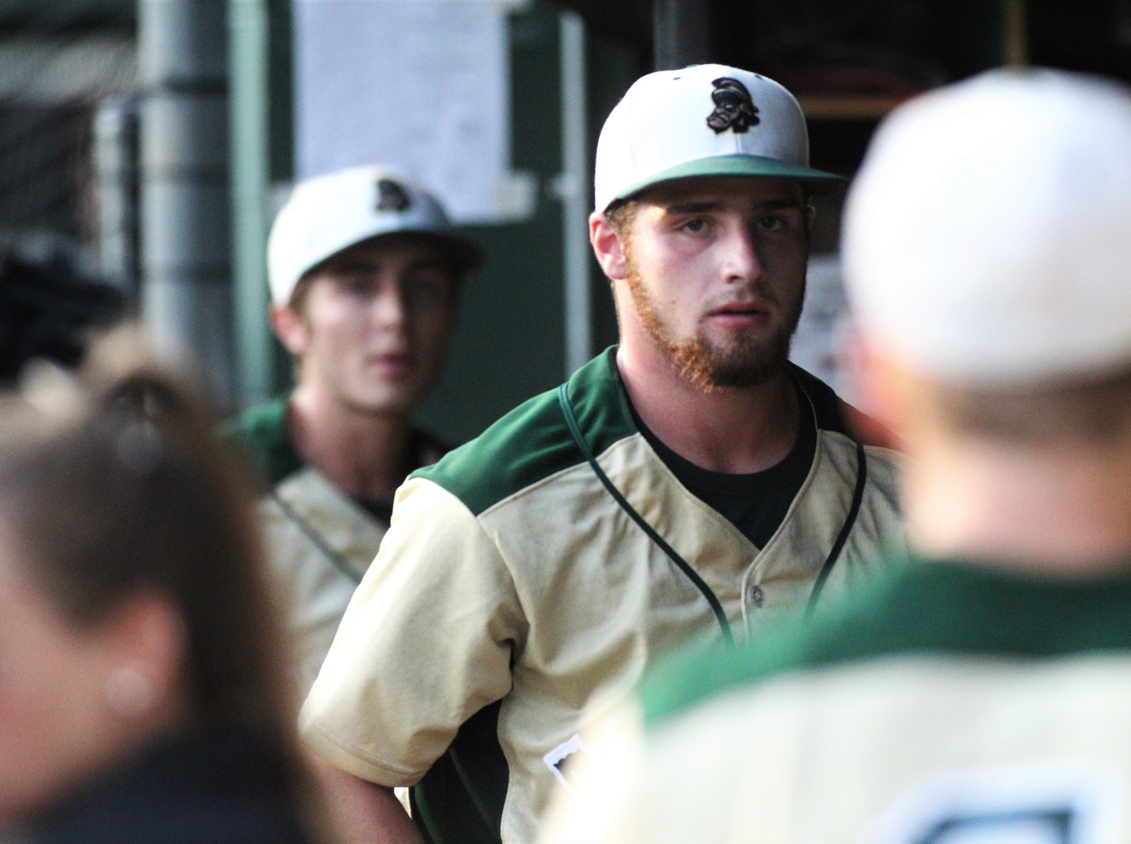 Lincoln senior pitcher Nick Ferrara storms back into the dugout after an inning ends as Lincoln baseball beat Chiles 5-4  in 10 innings during a District 2-8A championship game on Thursday, May 9, 2019.
