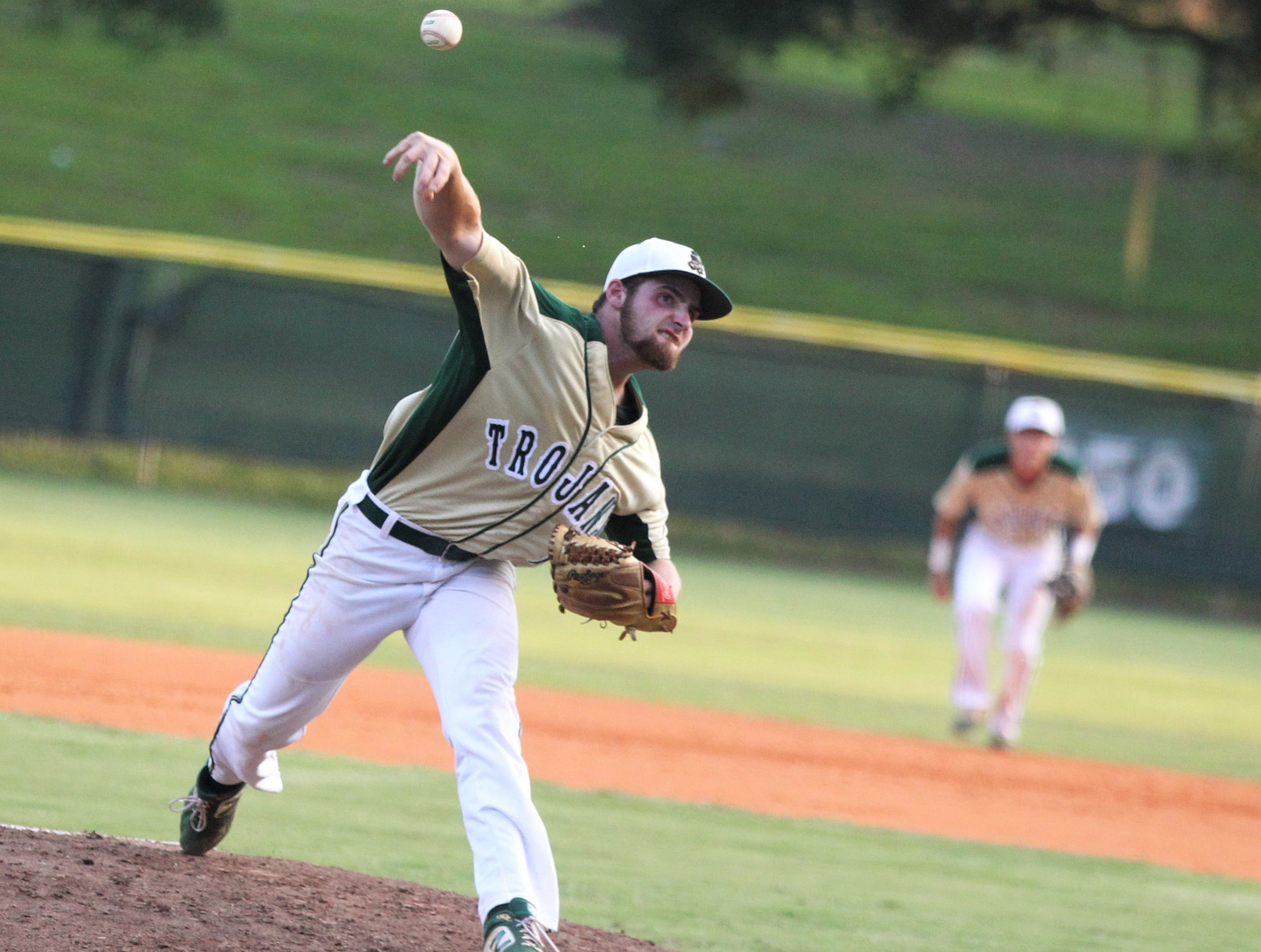 Lincoln senior Nick Ferrara pitches as Lincoln baseball beat Chiles 5-4  in 10 innings during a District 2-8A championship game on Thursday, May 9, 2019.