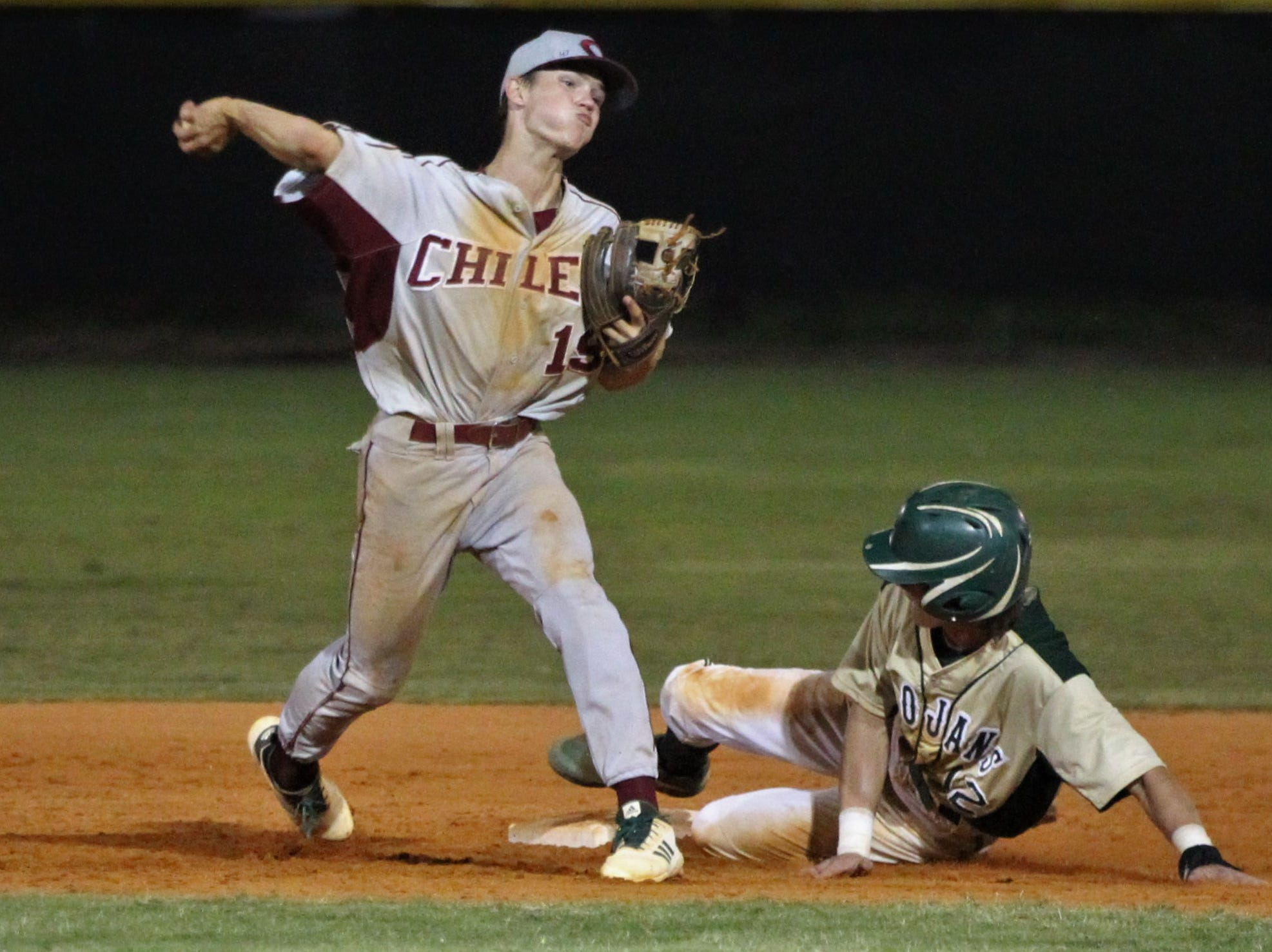 Chiles freshman Parker McDonald is credited with a force out as Lincoln baseball beat Chiles 5-4  in 10 innings during a District 2-8A championship game on Thursday, May 9, 2019.