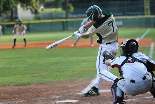 Lincoln junior Justin Bragdon bats as Lincoln baseball beat Chiles 5-4  in 10 innings during a District 2-8A championship game on Thursday, May 9, 2019.