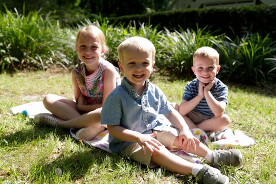Eliza, 6, James, 2, and Charlie Horton, 4 at their family's Tallahassee home Thursday, May 9, 2019.